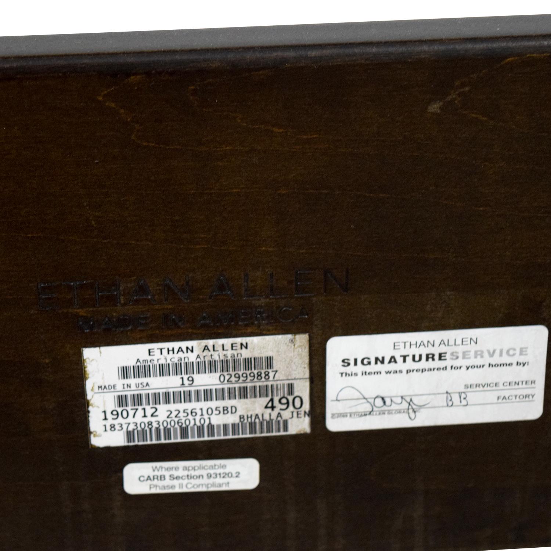 buy Ethan Allen Wood and Cream Upholstered Queen Bed Frame Ethan Allen