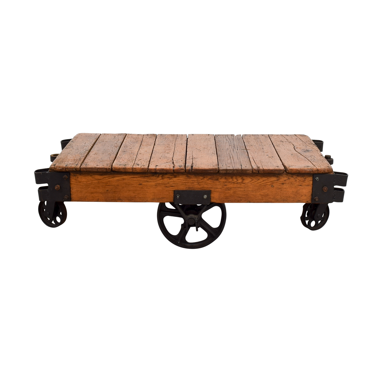 Restoration Hardware Rustic Coffee Table With Wheels Tables