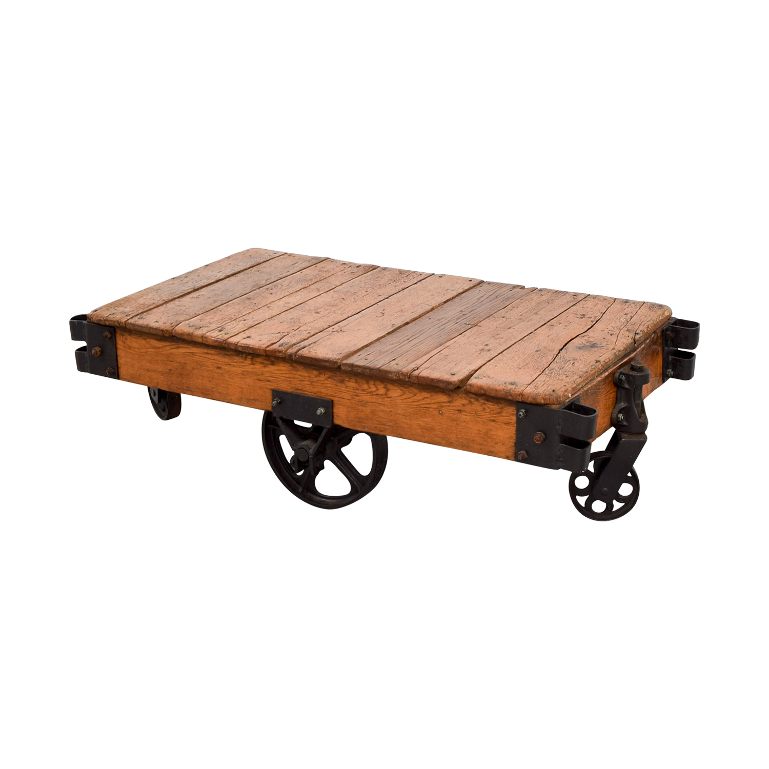 buy Restoration Hardware Rustic Coffee Table with Wheels Restoration Hardware