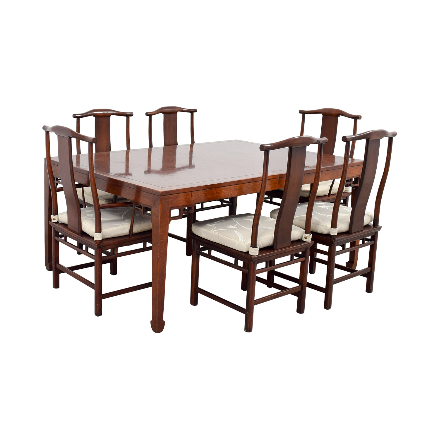 Baker Furniture Baker Furniture Mahogany Dining Set with Two Leaves Dark Cherry