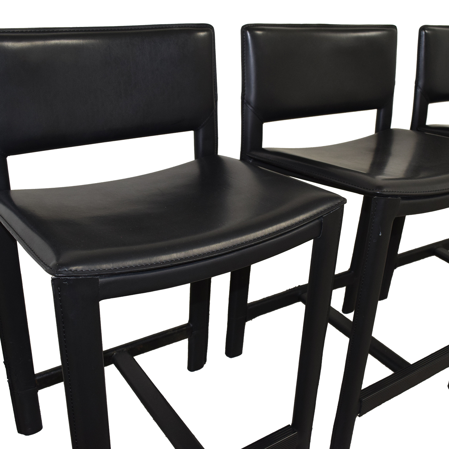 Room & Board Room & Board Sava Black Leather Bar Stools for sale