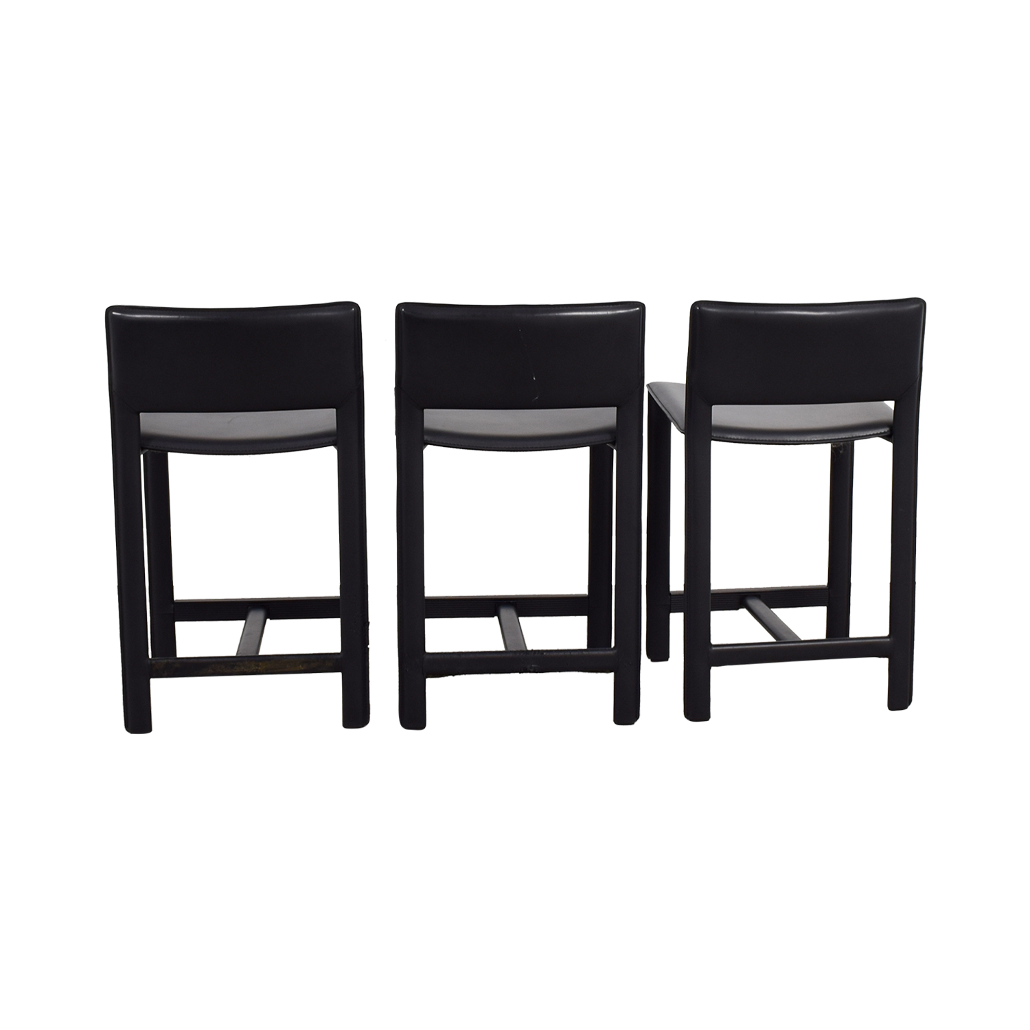 Room & Board Sava Black Leather Bar Stools / Chairs