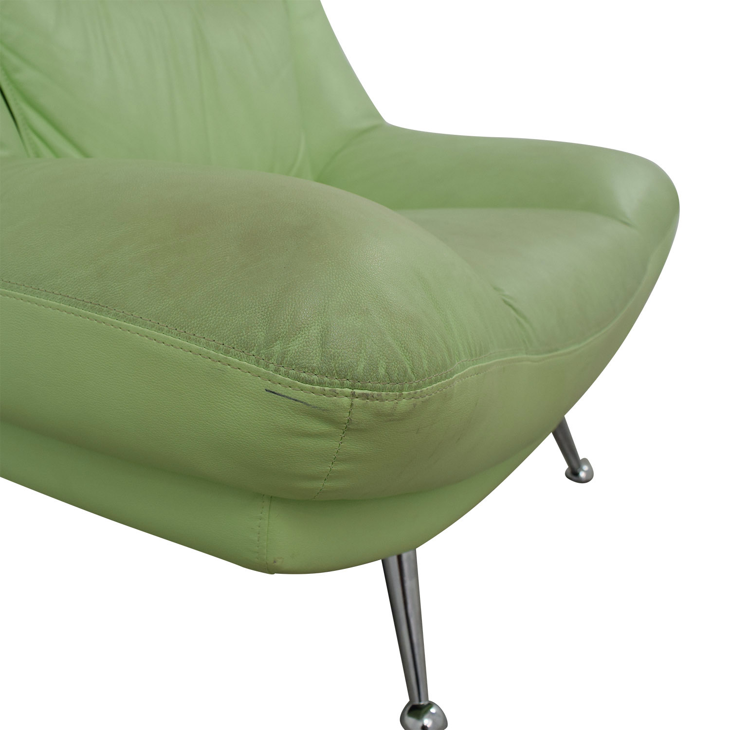 buy Italian Surf Green Leather Accent Chair Chairs