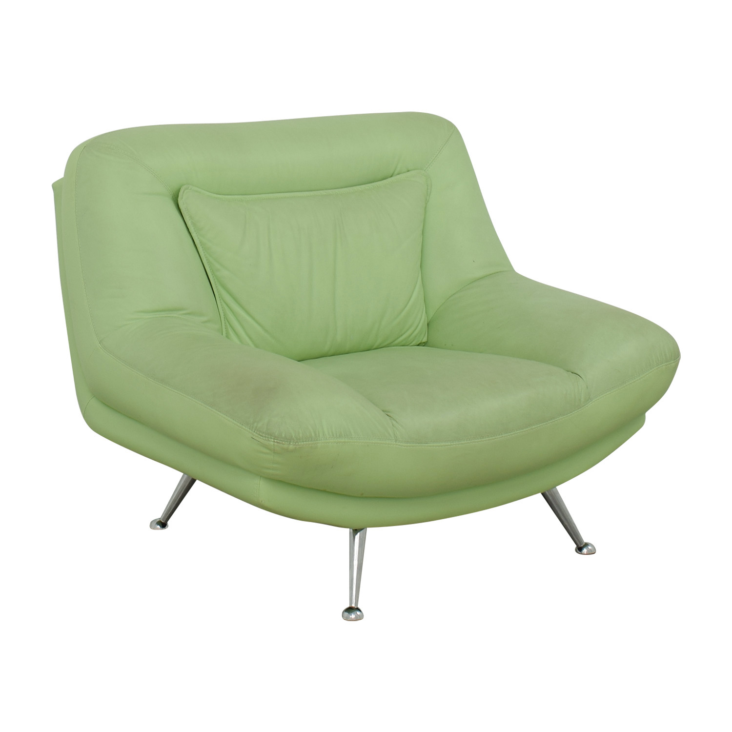 90 Off Italian Surf Green Leather Accent Chair Chairs