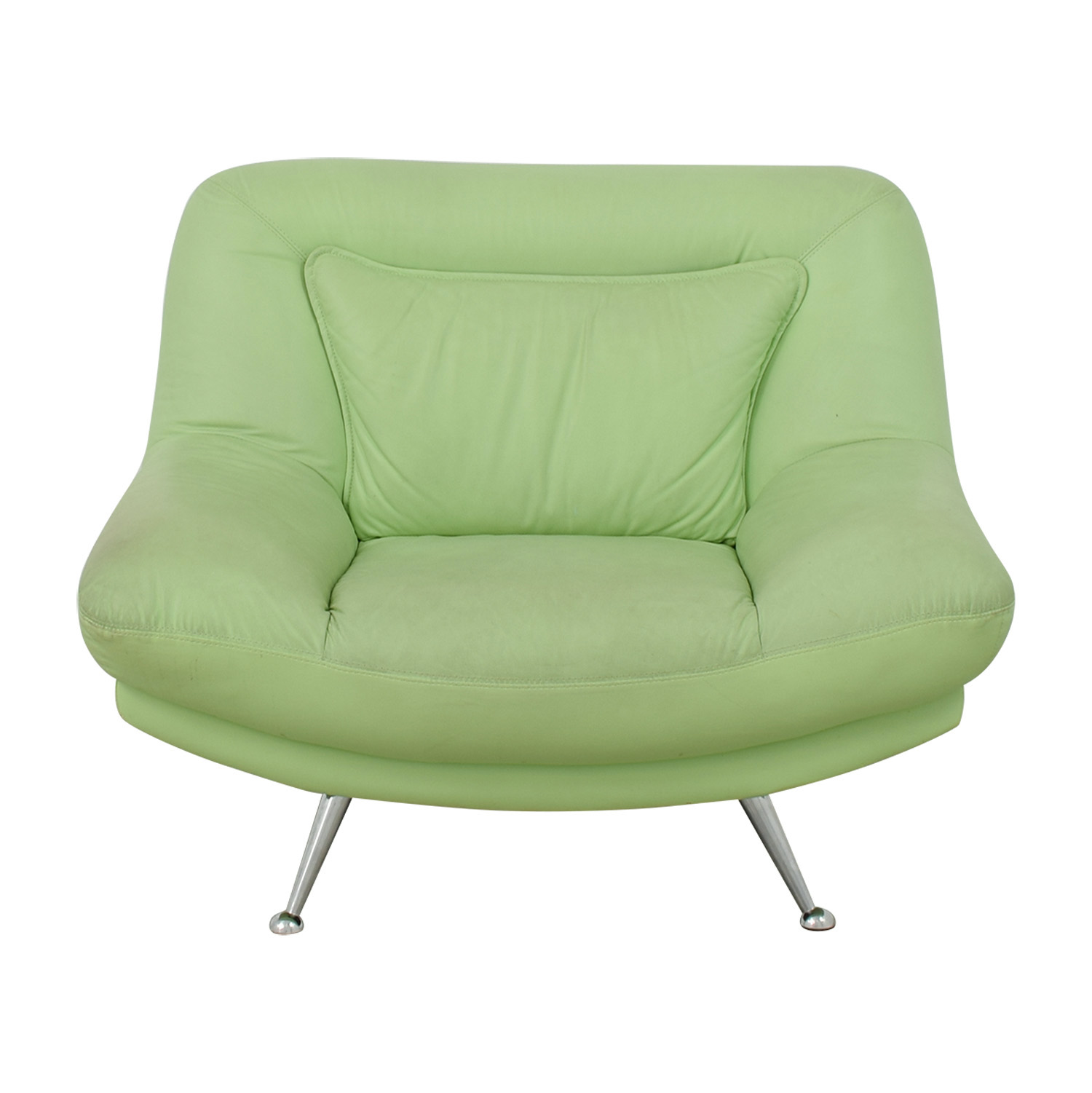 Italian Surf Green Leather Accent Chair / Accent Chairs