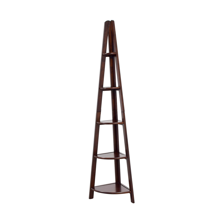 buy Wood Corner Bookcase Bookcases & Shelving