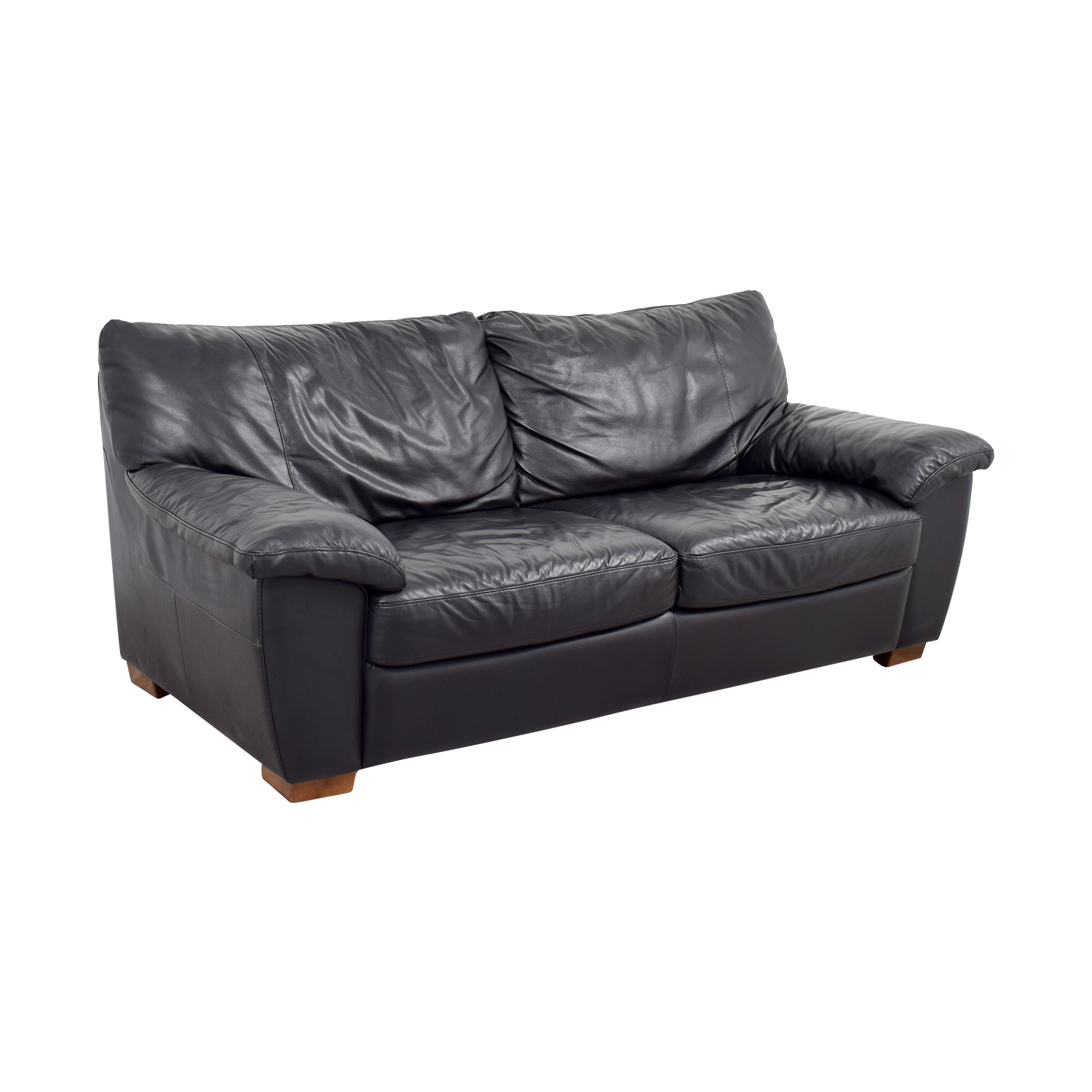 IKEA IKEA Black Leather Two-Cushion Couch for sale