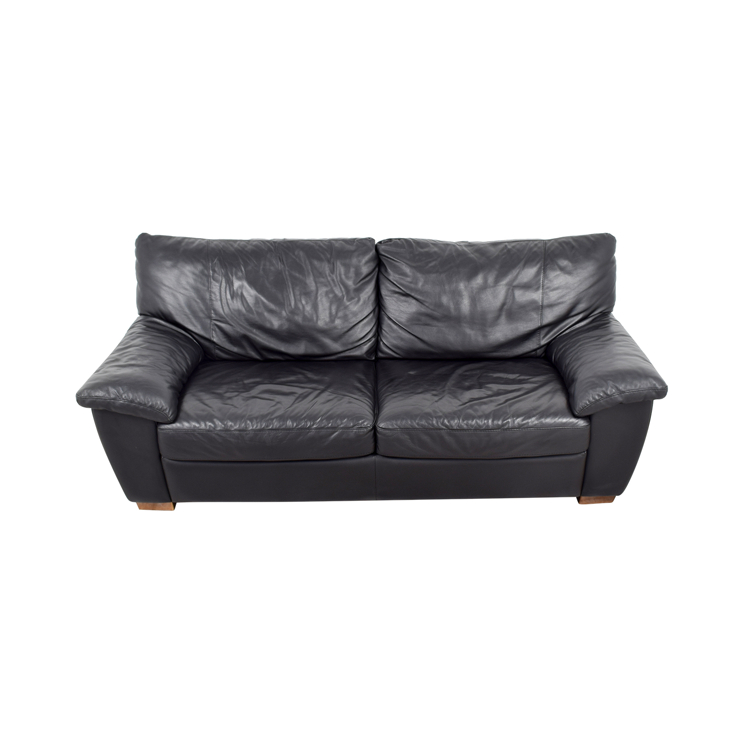 buy IKEA Black Leather Two-Cushion Couch IKEA Sofas