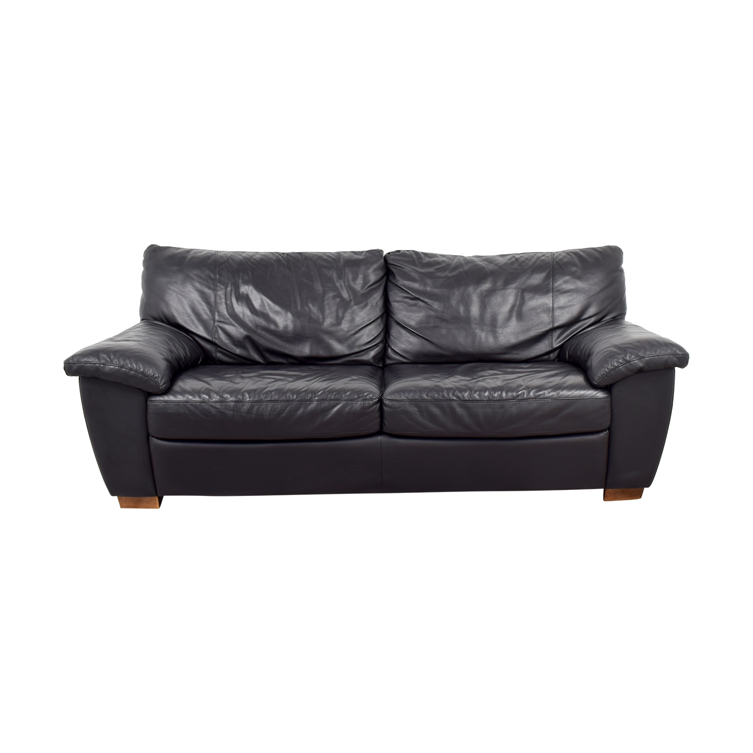 IKEA IKEA Black Leather Two-Cushion Couch coupon