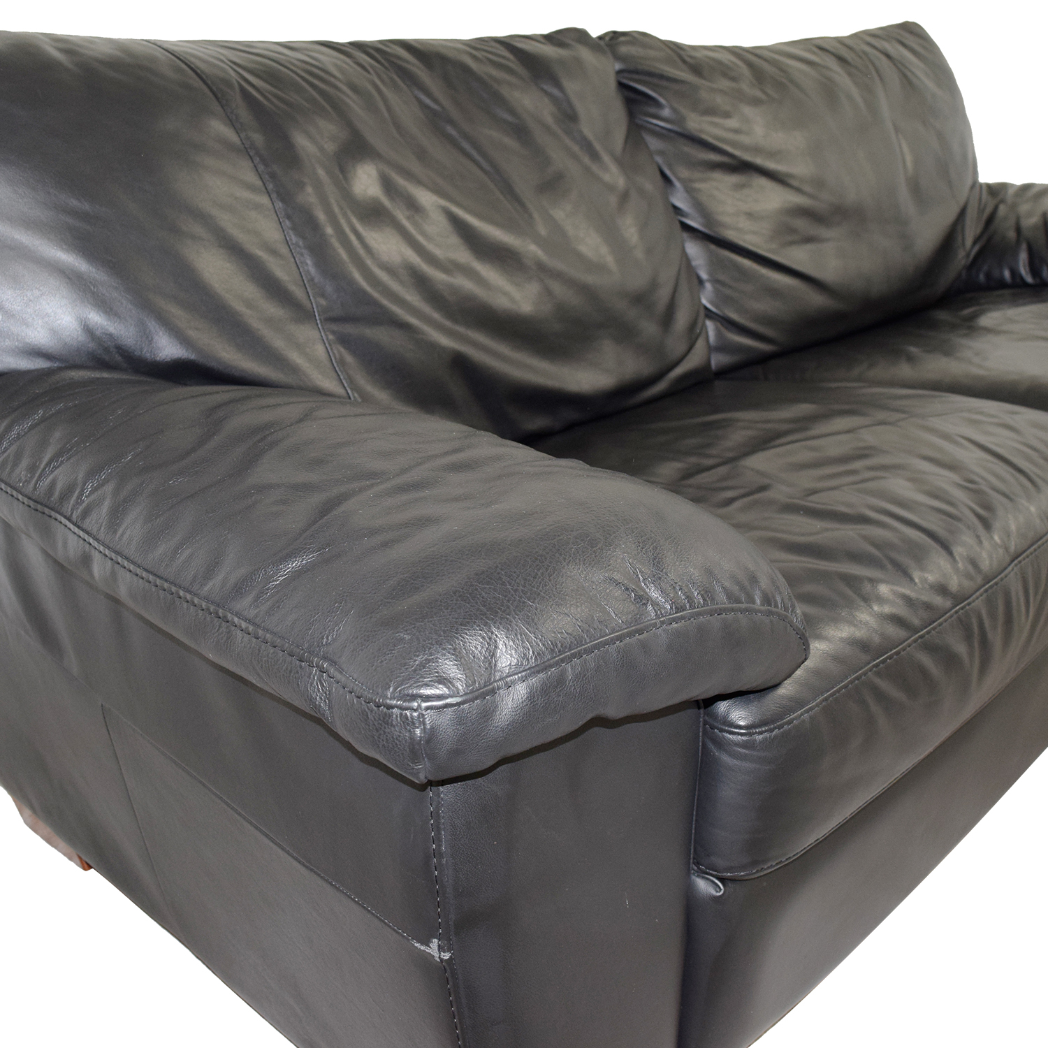 IKEA IKEA Black Leather Two-Cushion Couch Classic Sofas