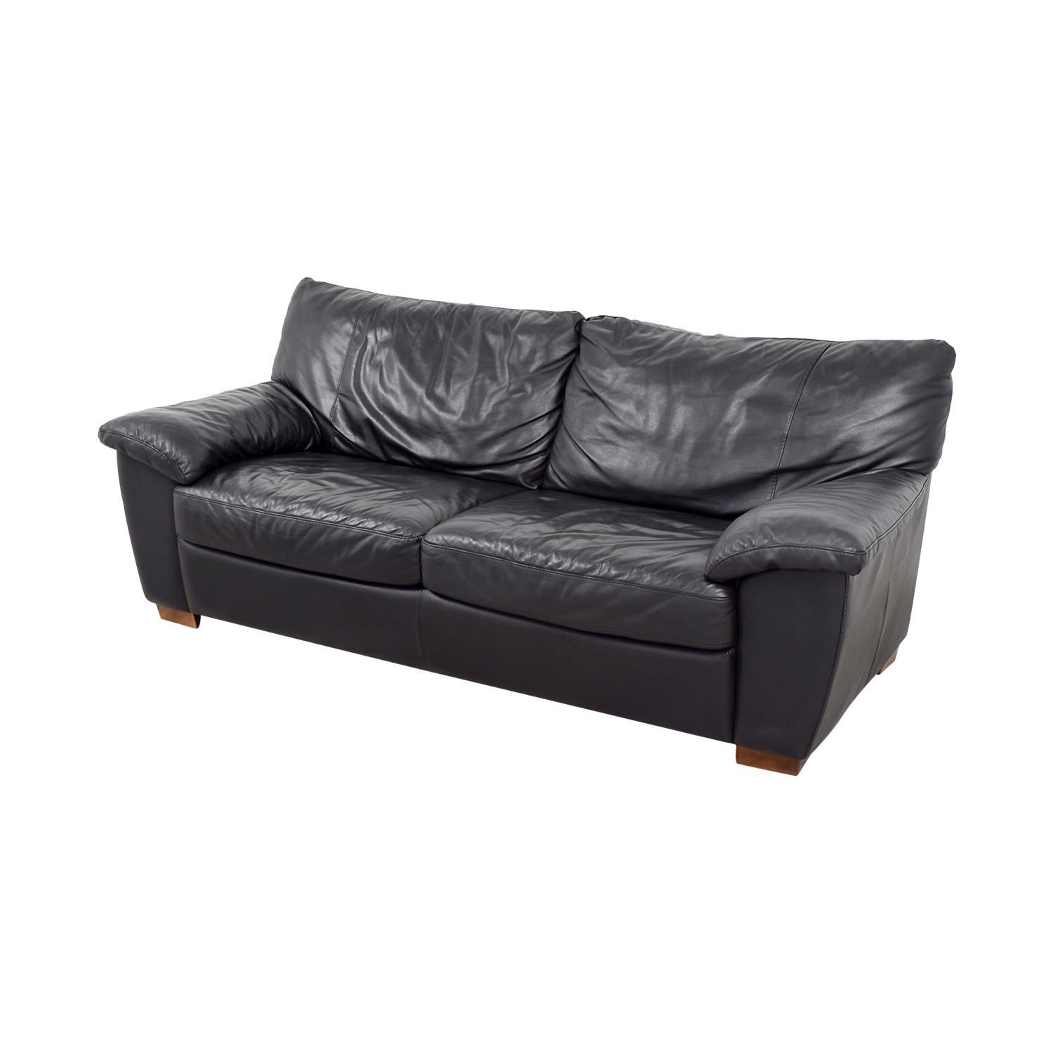 IKEA IKEA Black Leather Two-Cushion Couch Black