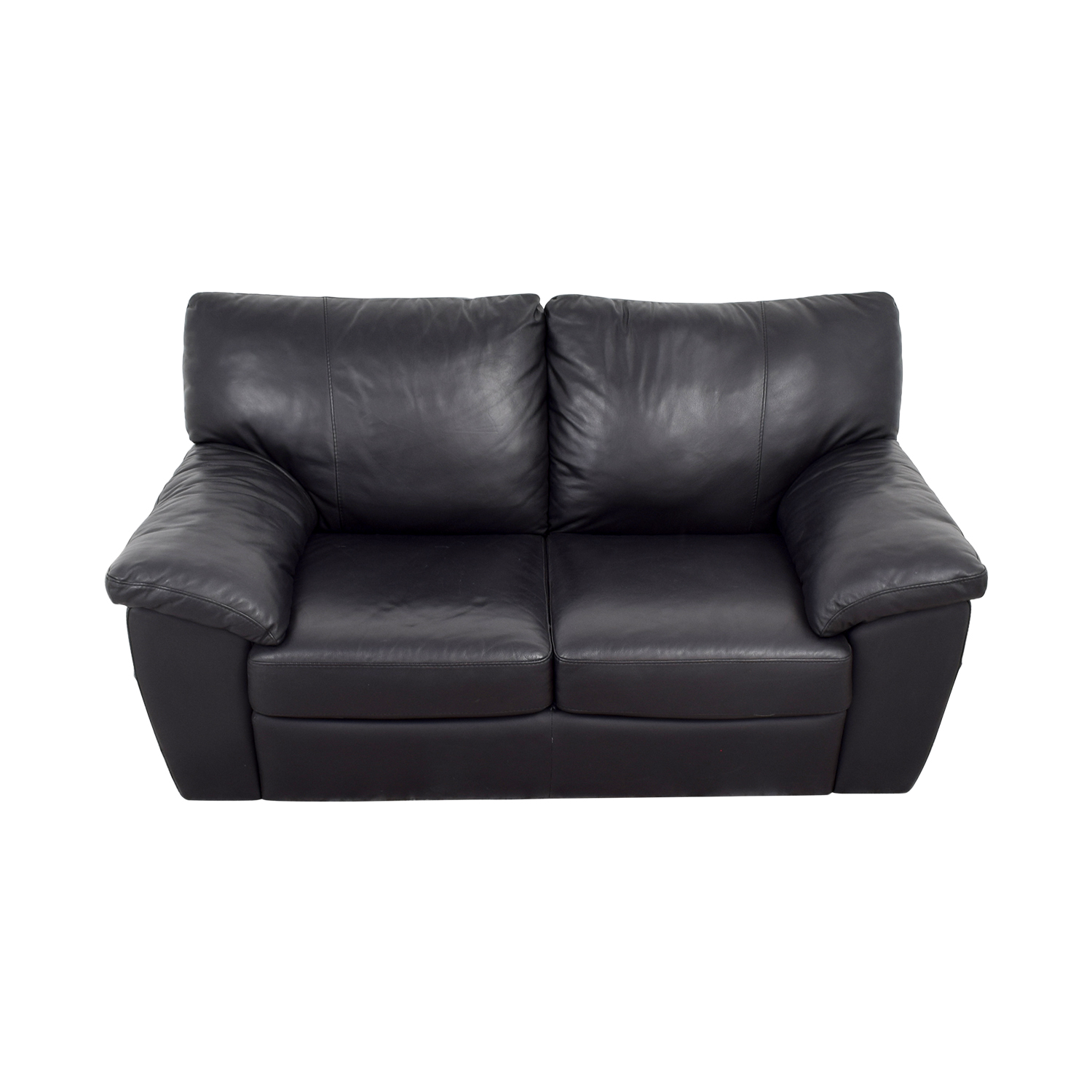 IKEA Black Leather Two-Cushion Couch / Sofas