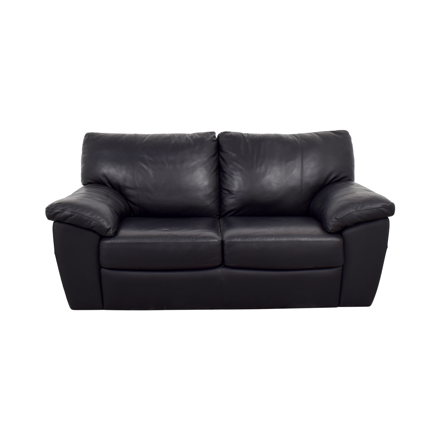 IKEA IKEA Black Leather Two-Cushion Couch discount