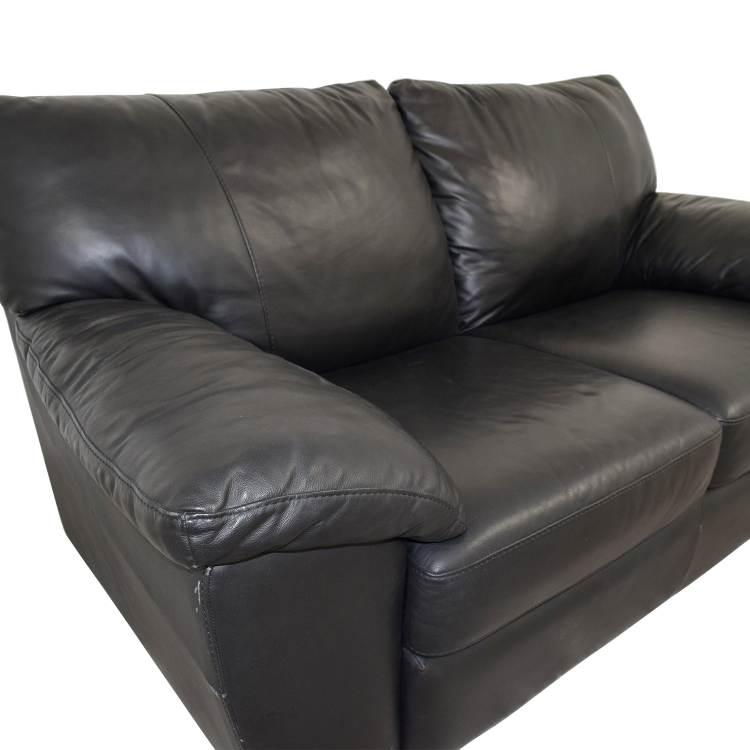 IKEA IKEA Black Leather Two-Cushion Couch price
