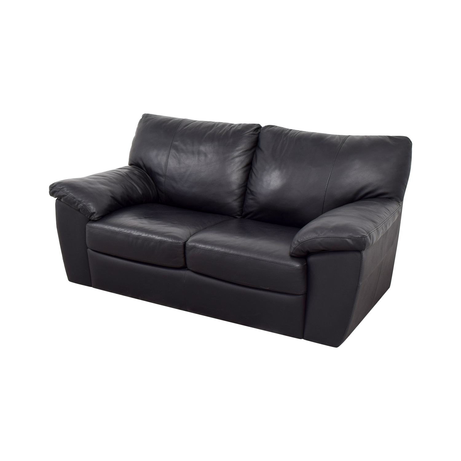 81% OFF - IKEA IKEA Black Leather Two-Cushion Couch / Sofas