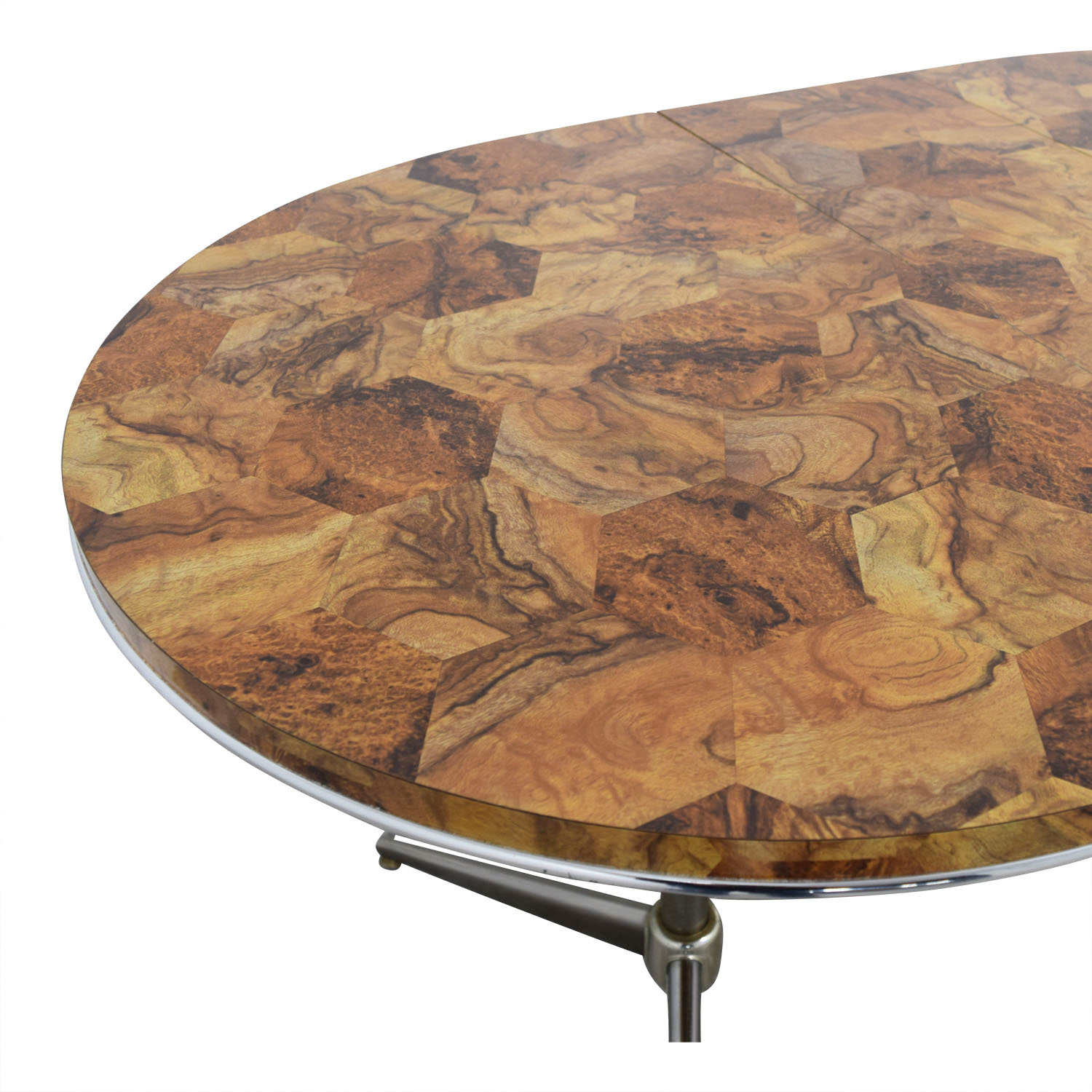 buy Faux Wood Top and Metal Oval Table Tables