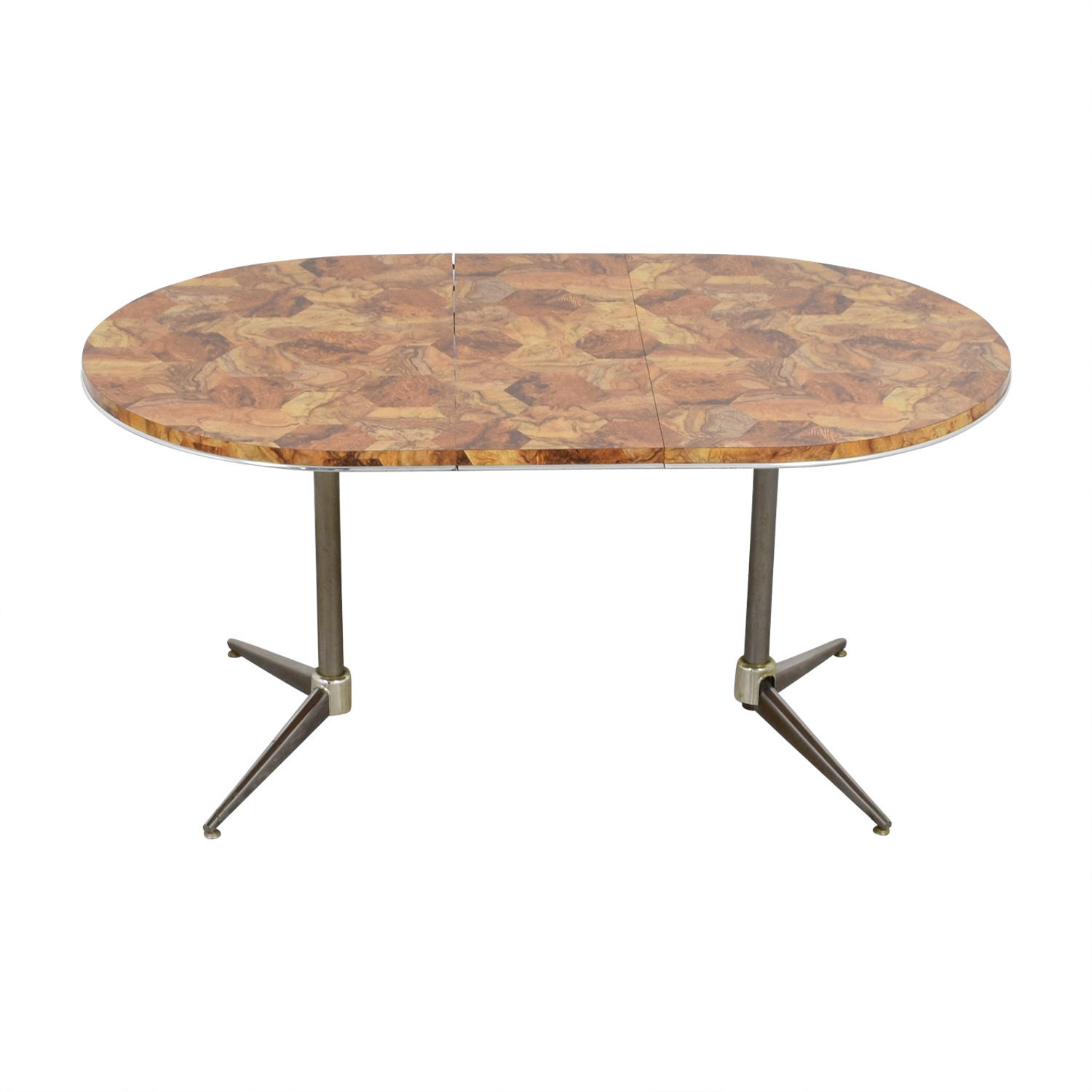 Faux Wood Top and Metal Oval Table nyc