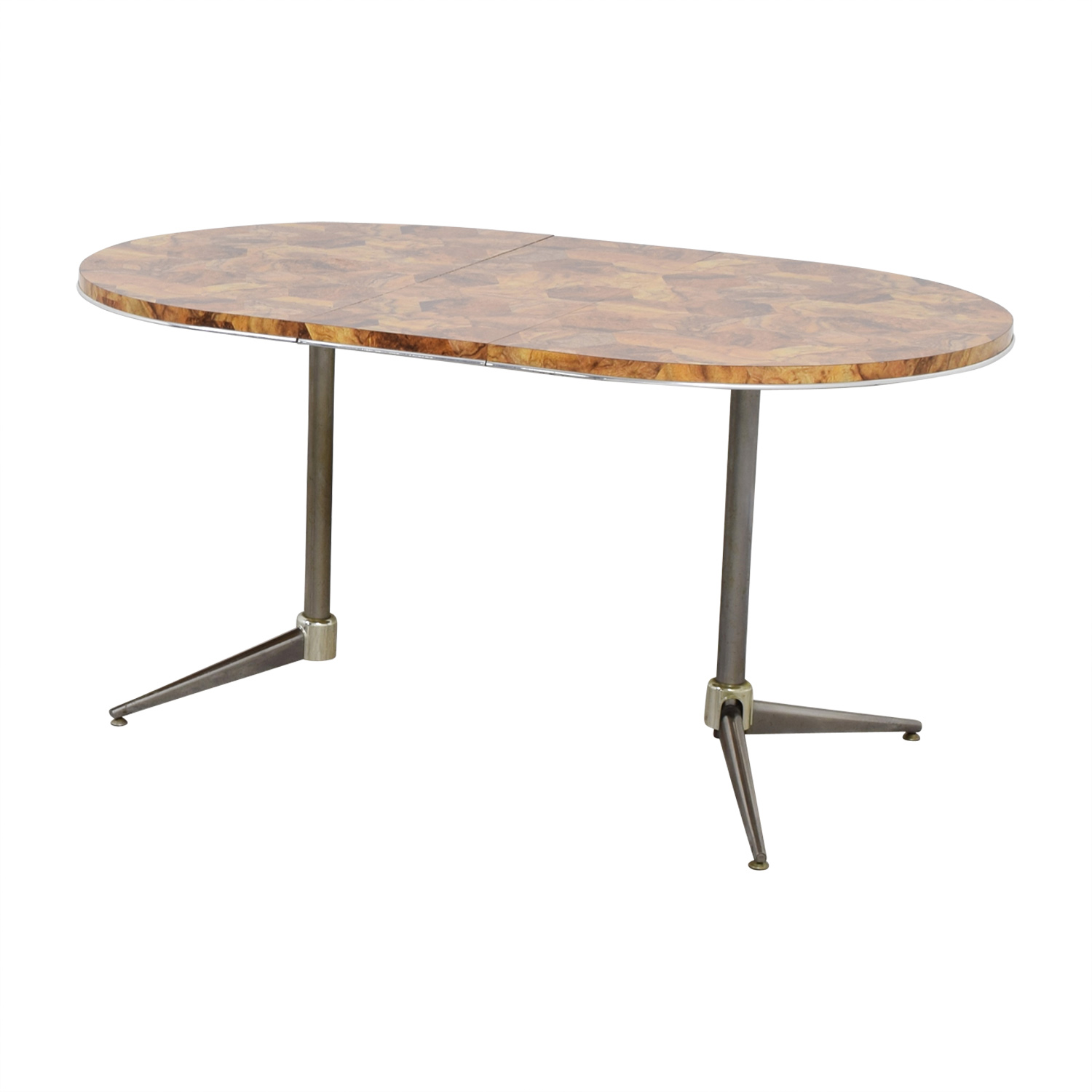 Faux Wood Top and Metal Oval Table