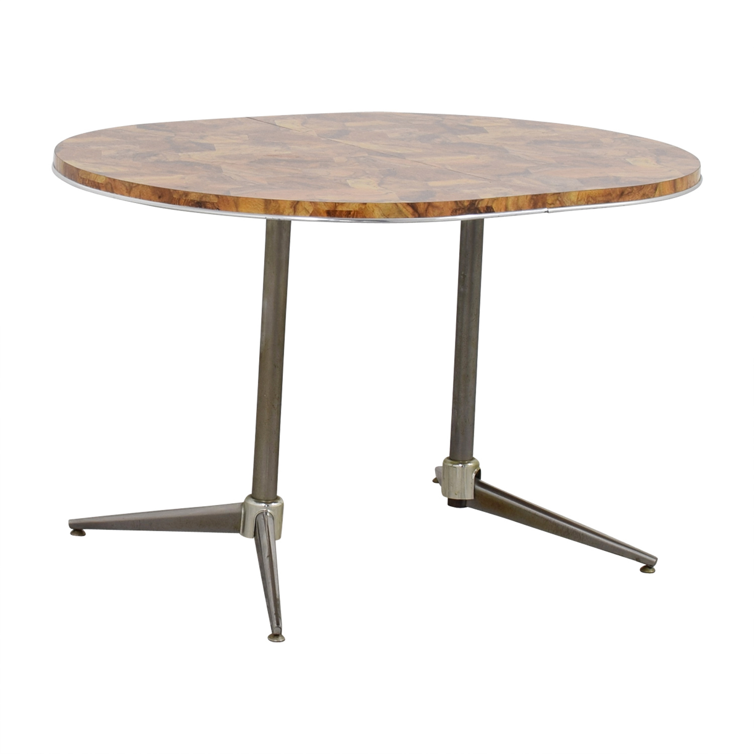 Faux Wood Top and Metal Oval Table second hand