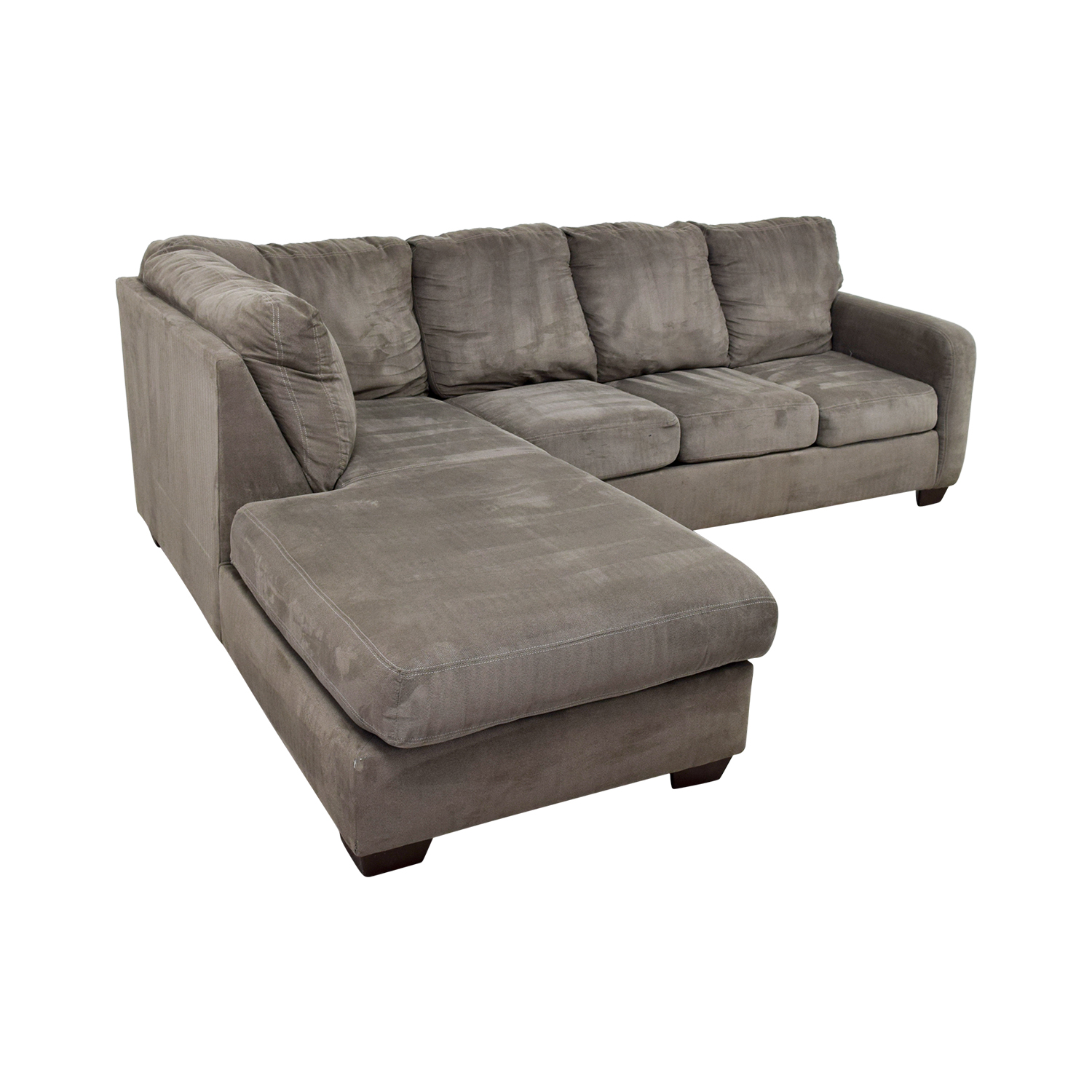 Living Spaces Living Spaces Zella Charcoal Chaise Sectional grey