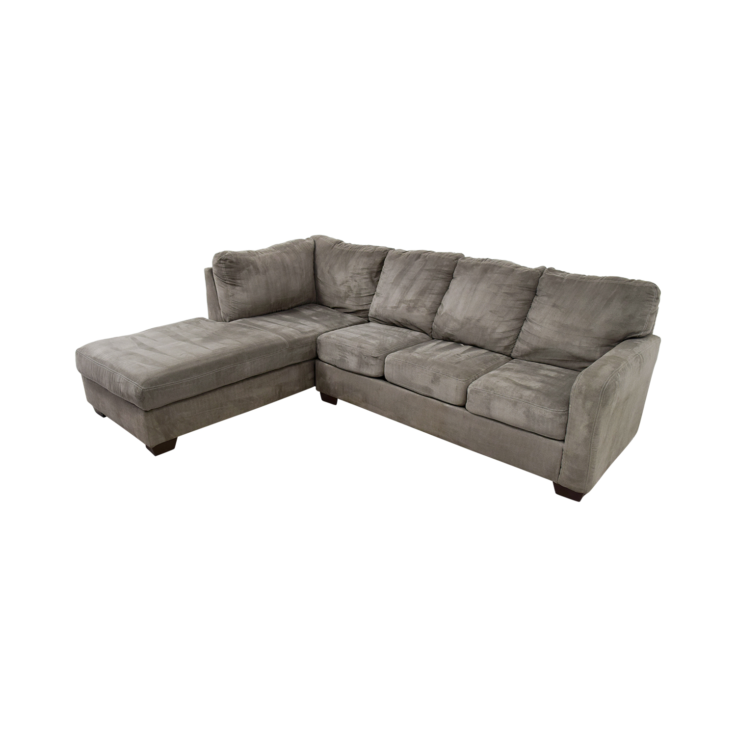 Living Spaces Zella Charcoal Chaise Sectional Living Spaces