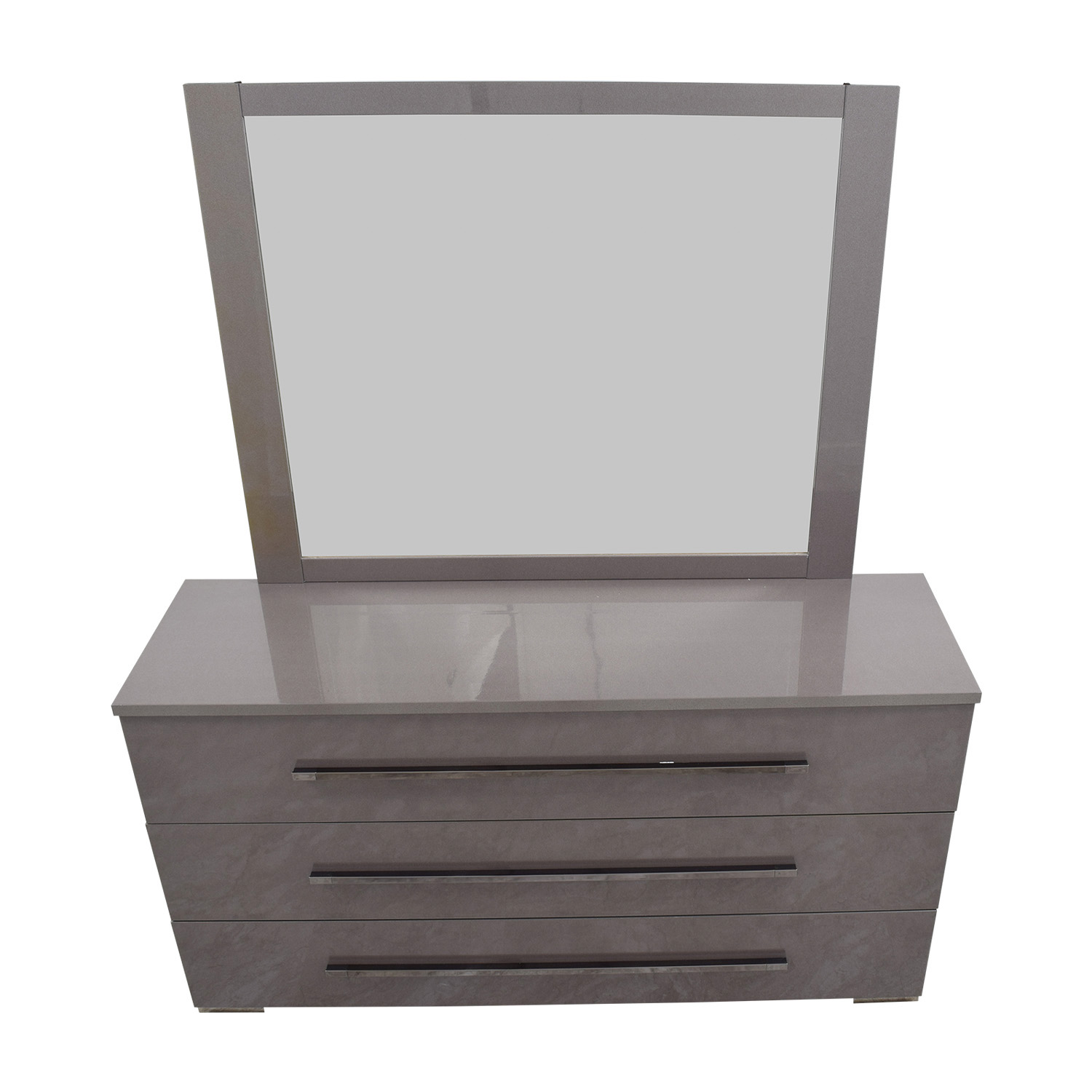 Grey Three-Drawer Dresser with Mirror Storage