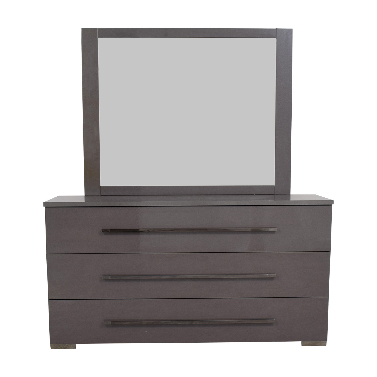 shop Grey Three-Drawer Dresser with Mirror Storage