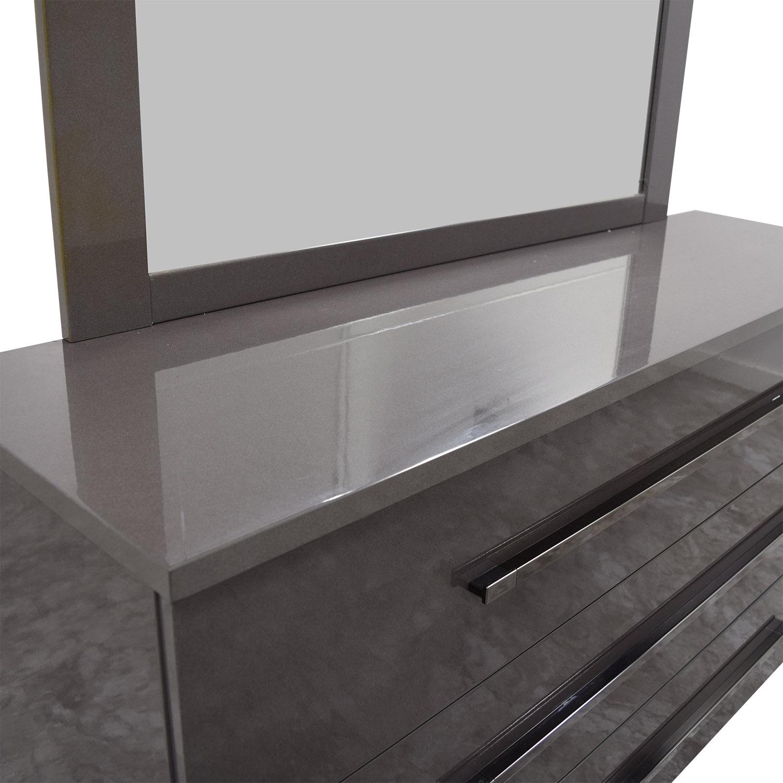 Grey Three-Drawer Dresser with Mirror dimensions