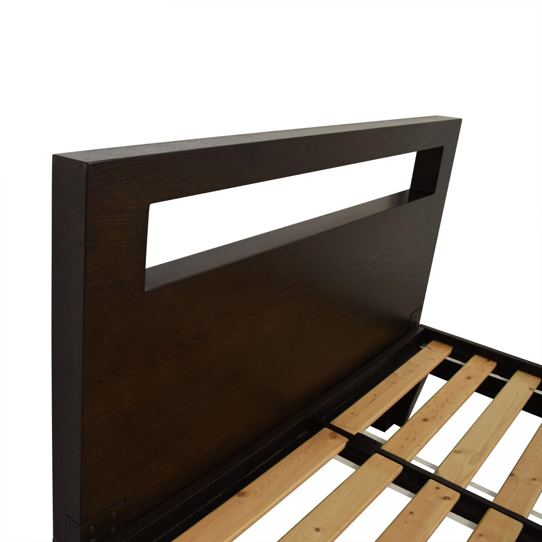 84% OFF - West Elm West Elm Espresso Cut-Out Headboard Platform Full Bed /  Beds