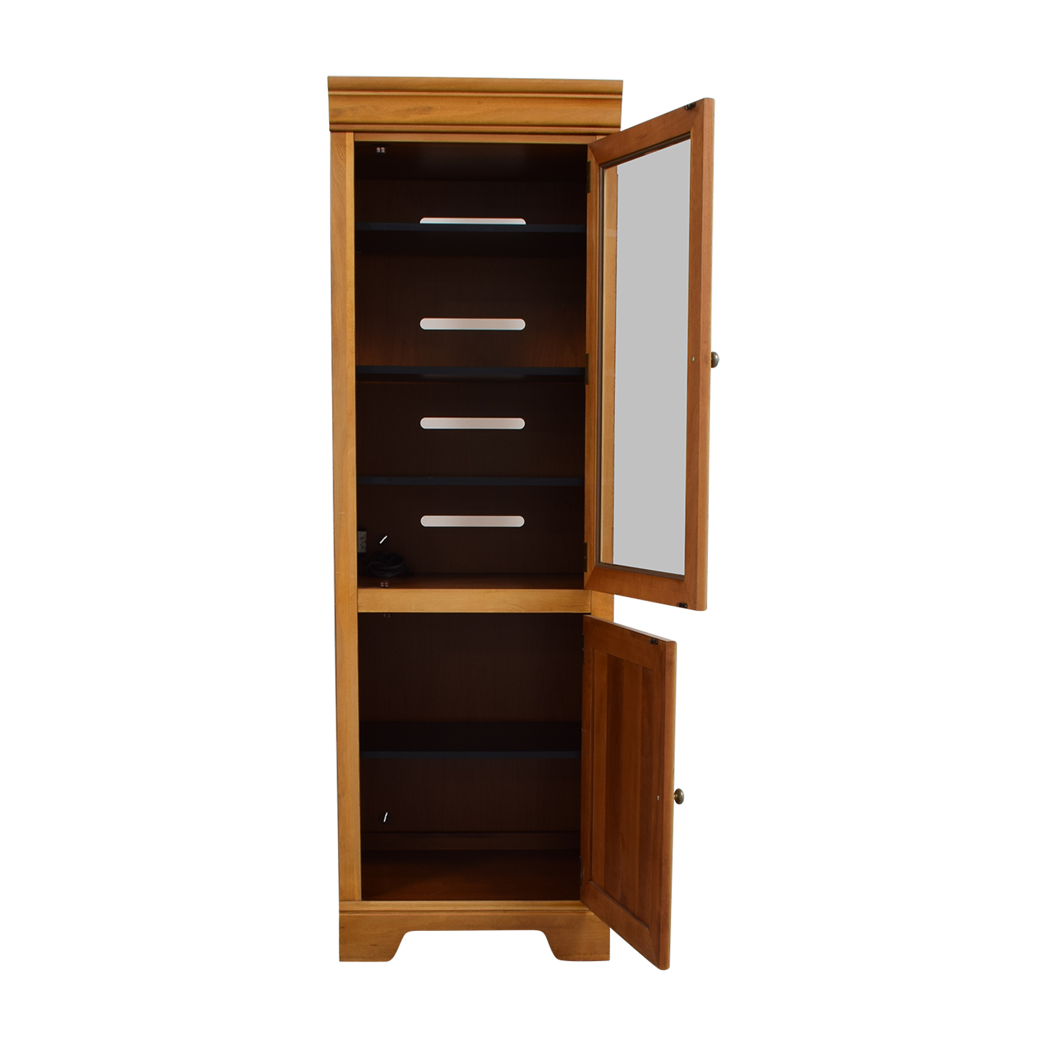 Stanley Furniture Company Stanley Furniture Company Tall Wood and Glass Cabinet used
