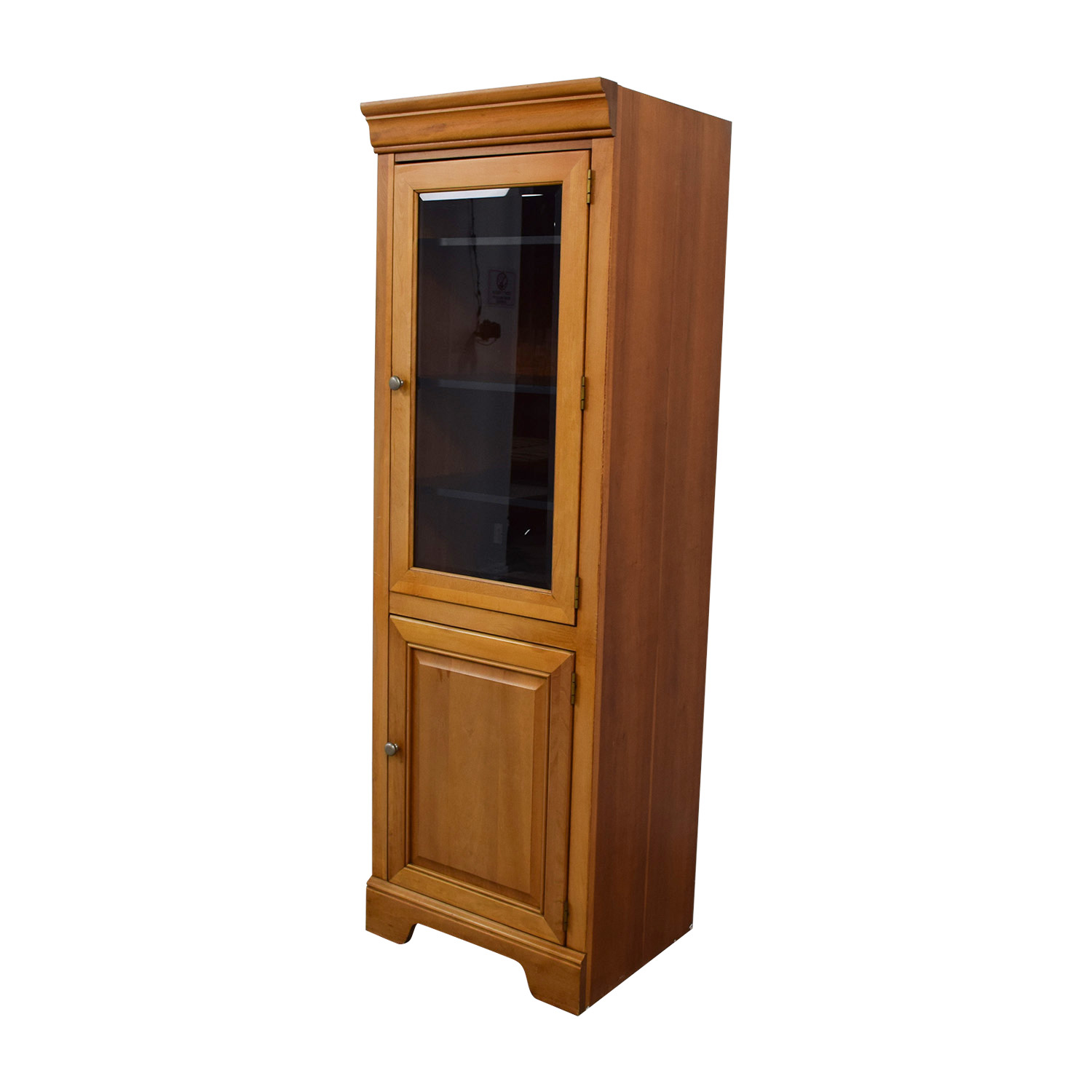 Stanley Furniture Company Stanley Furniture Company Tall Wood and Glass Cabinet Storage