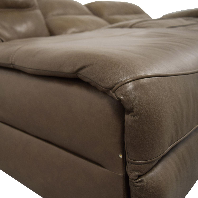 Macys Macys Gunmetal Grey Leather Chaise Lounge Recliner