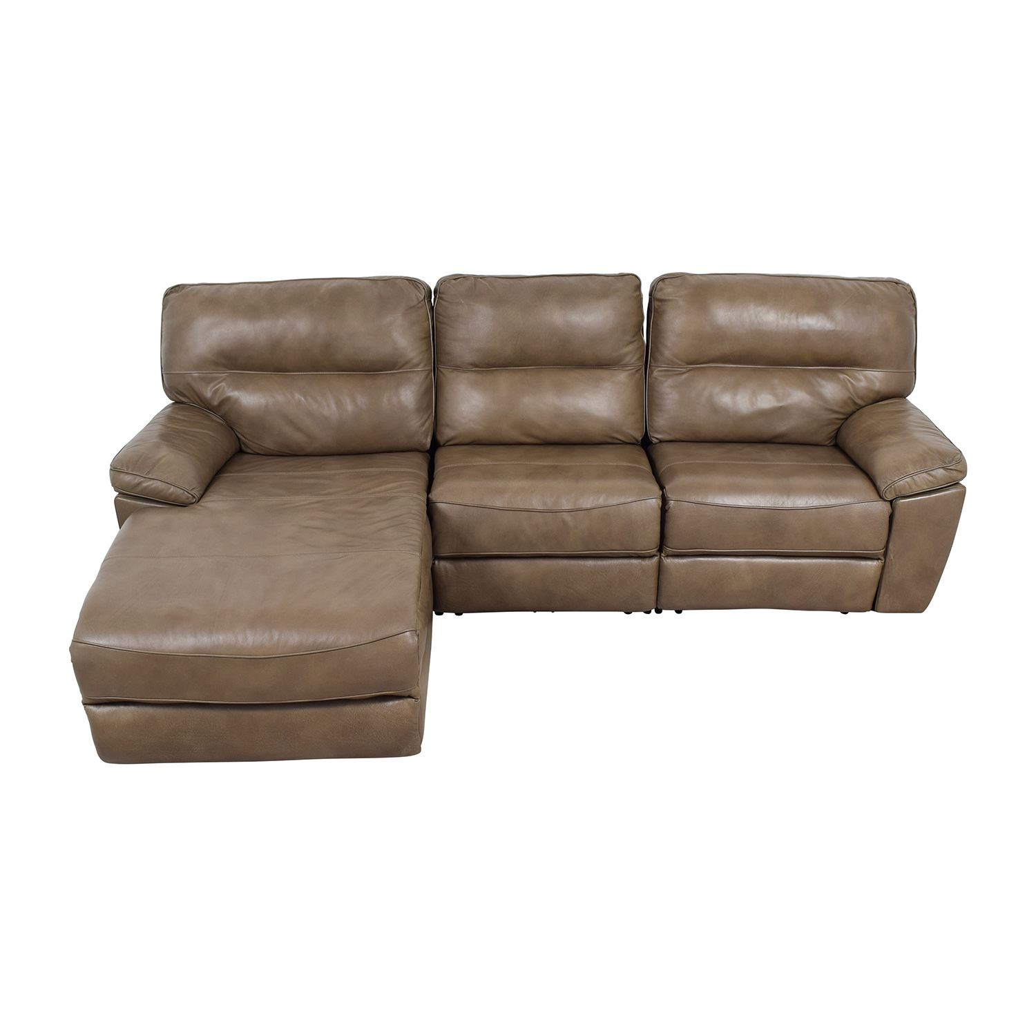 76% OFF - Macy\'s Macy\'s Gunmetal Grey Leather Chaise Lounge Recliner / Sofas