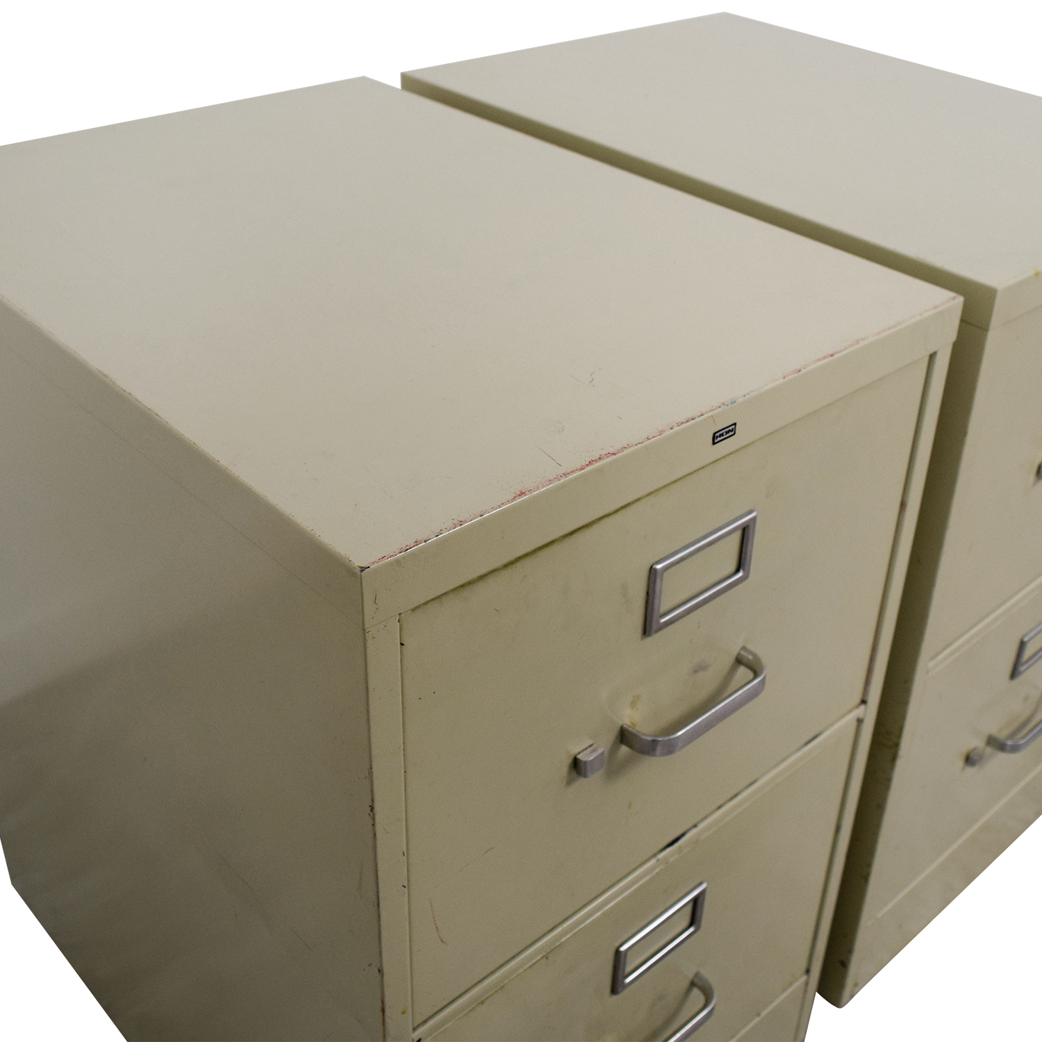 Two-Drawer Grey Metal File Cabinets for sale