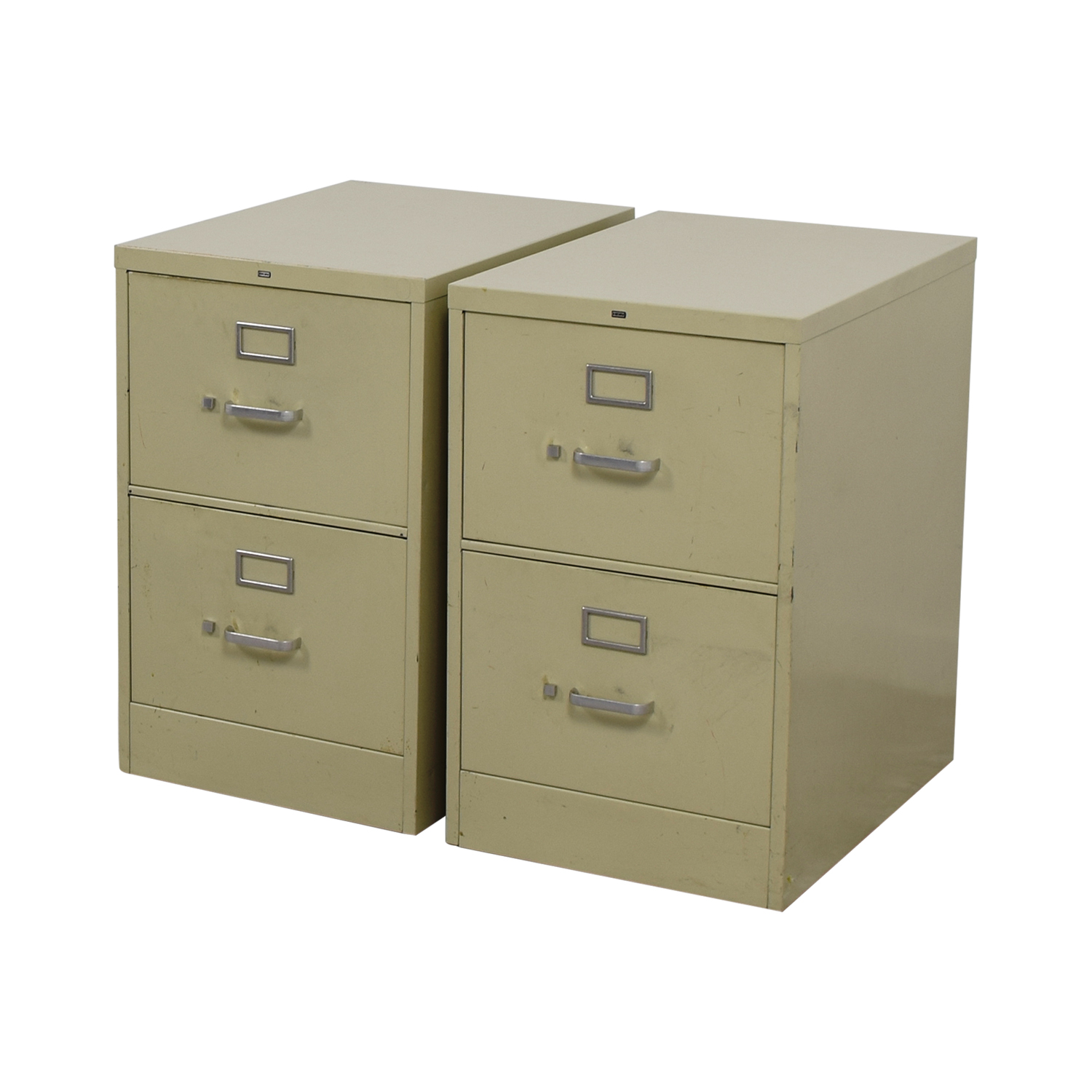 Two-Drawer Grey Metal File Cabinets used