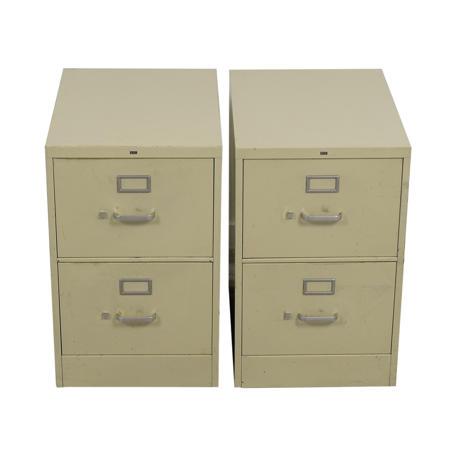 Two-Drawer Grey Metal File Cabinets