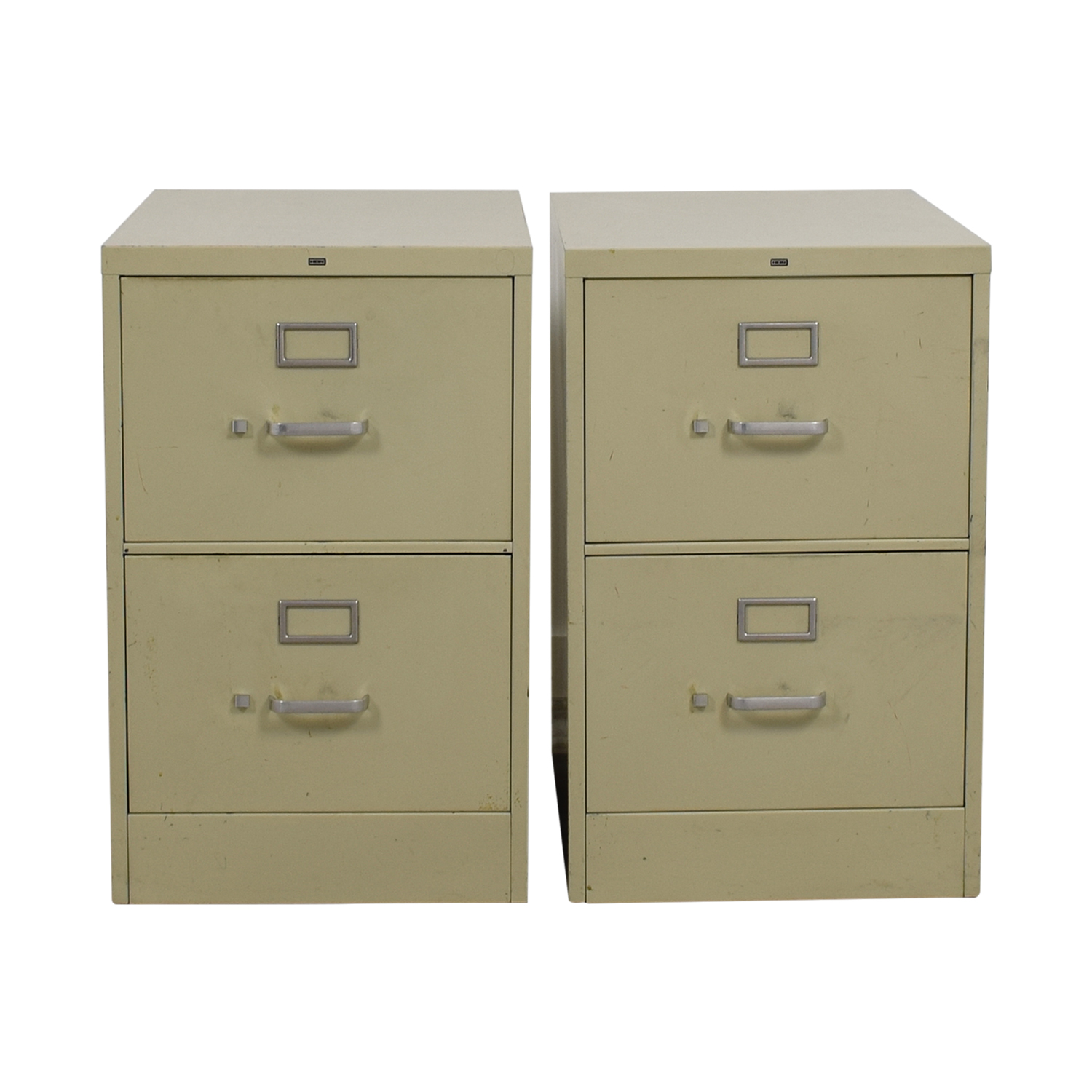 Two-Drawer Grey Metal File Cabinets on sale