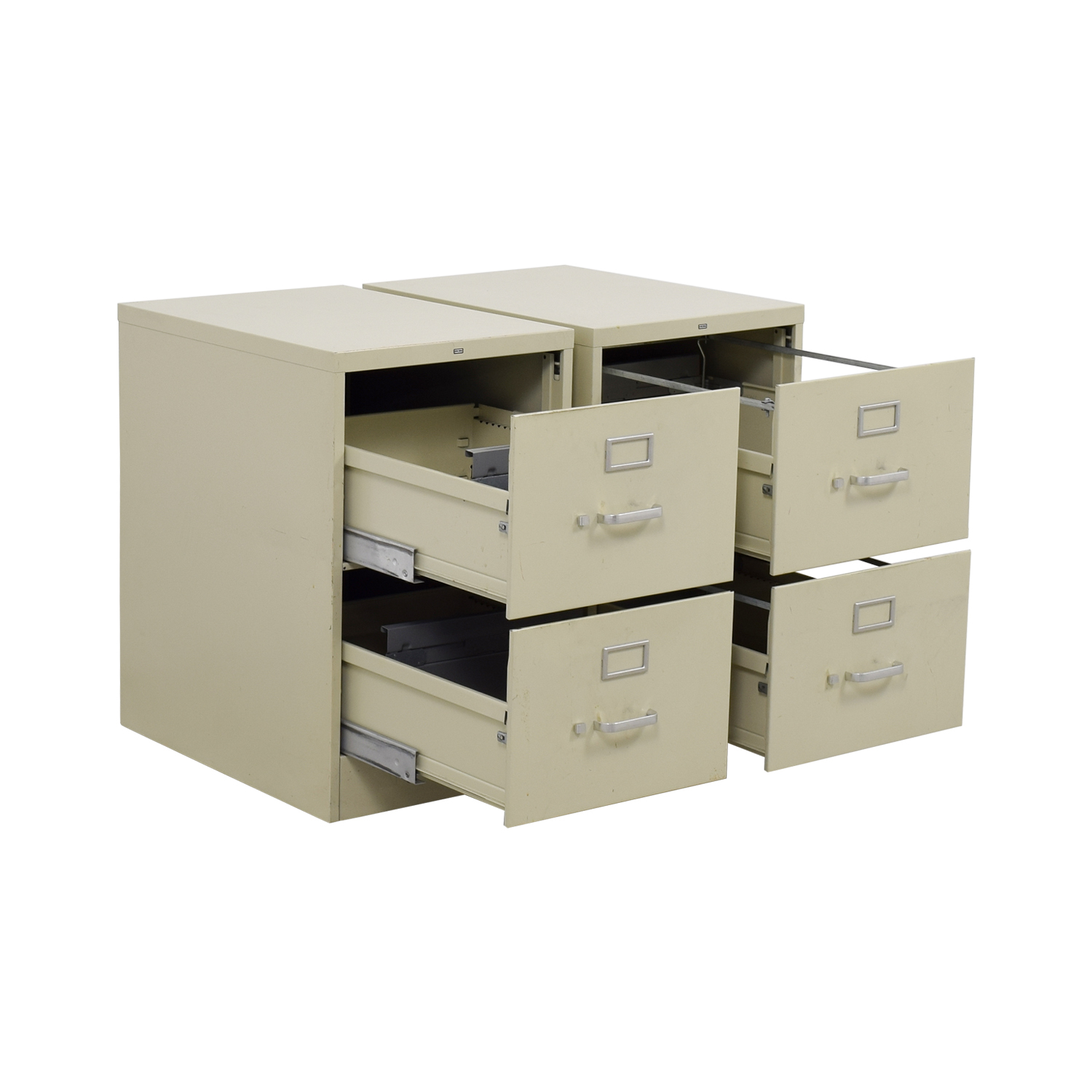 Two-Drawer Grey Metal File Cabinets Filing & Bins