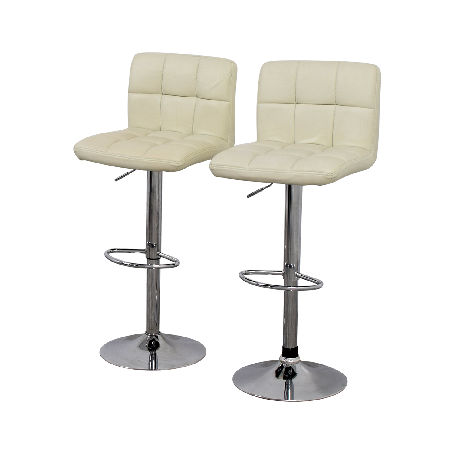 shop Creme and Chrome Tufted Bar Stools online