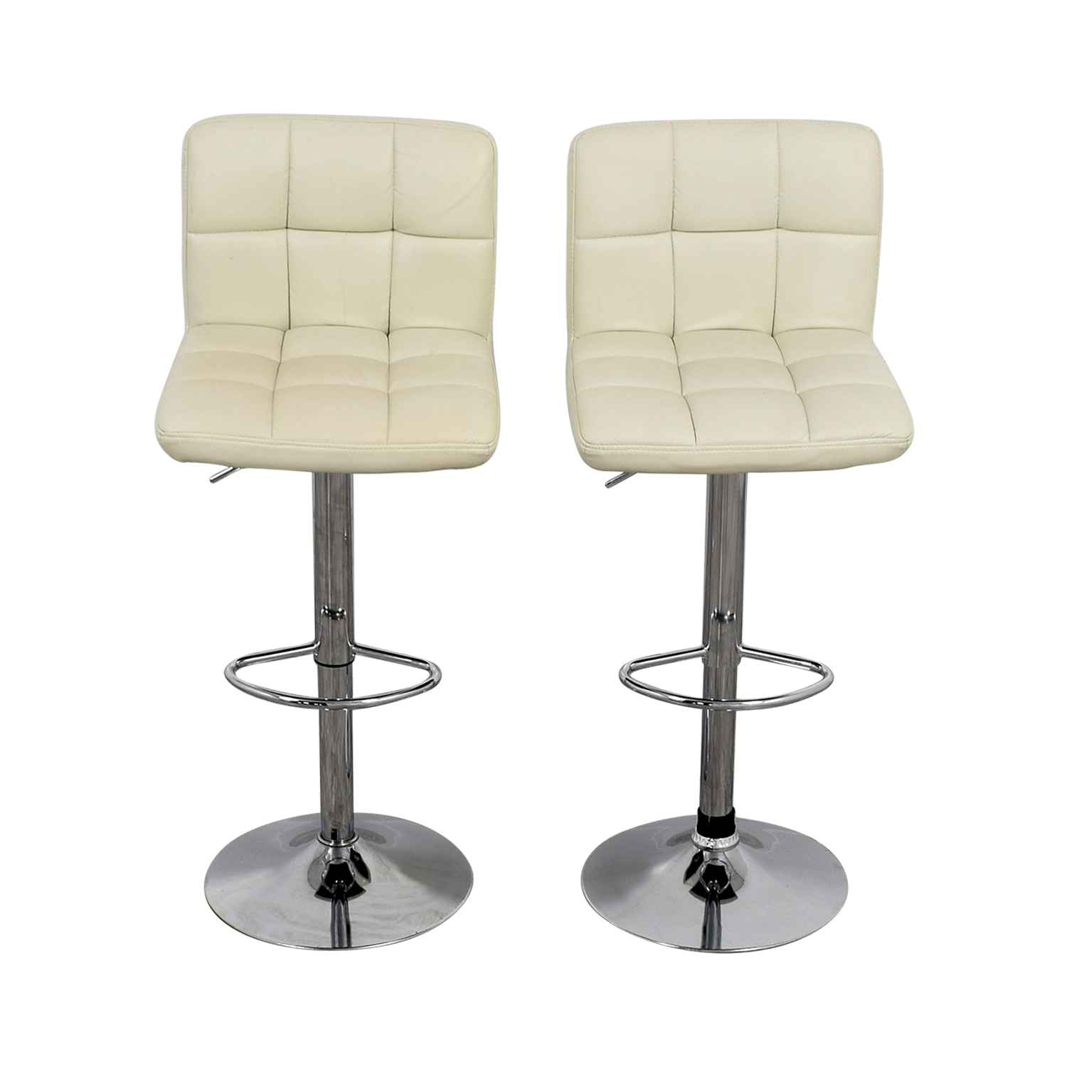 Creme and Chrome Tufted Bar Stools Chairs