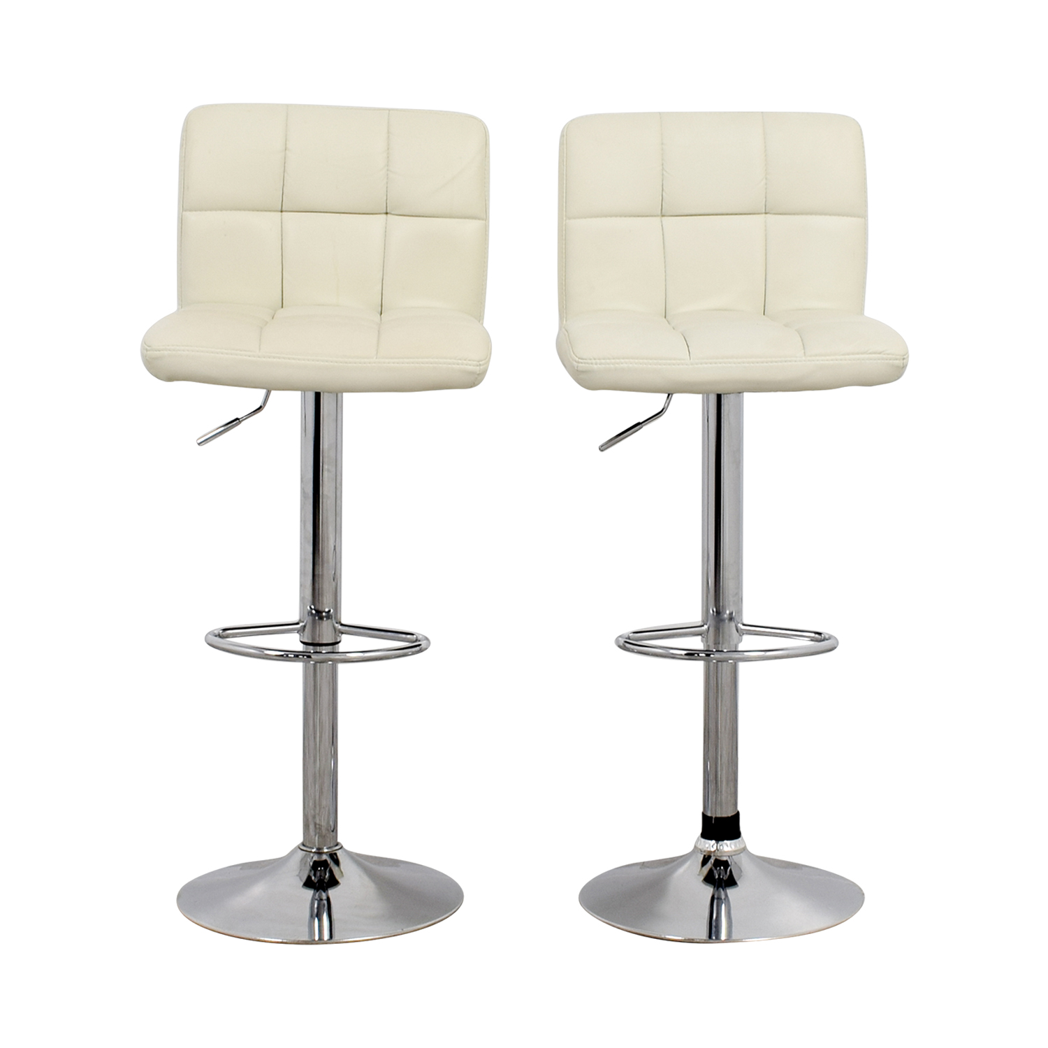buy Creme and Chrome Tufted Bar Stools Chairs