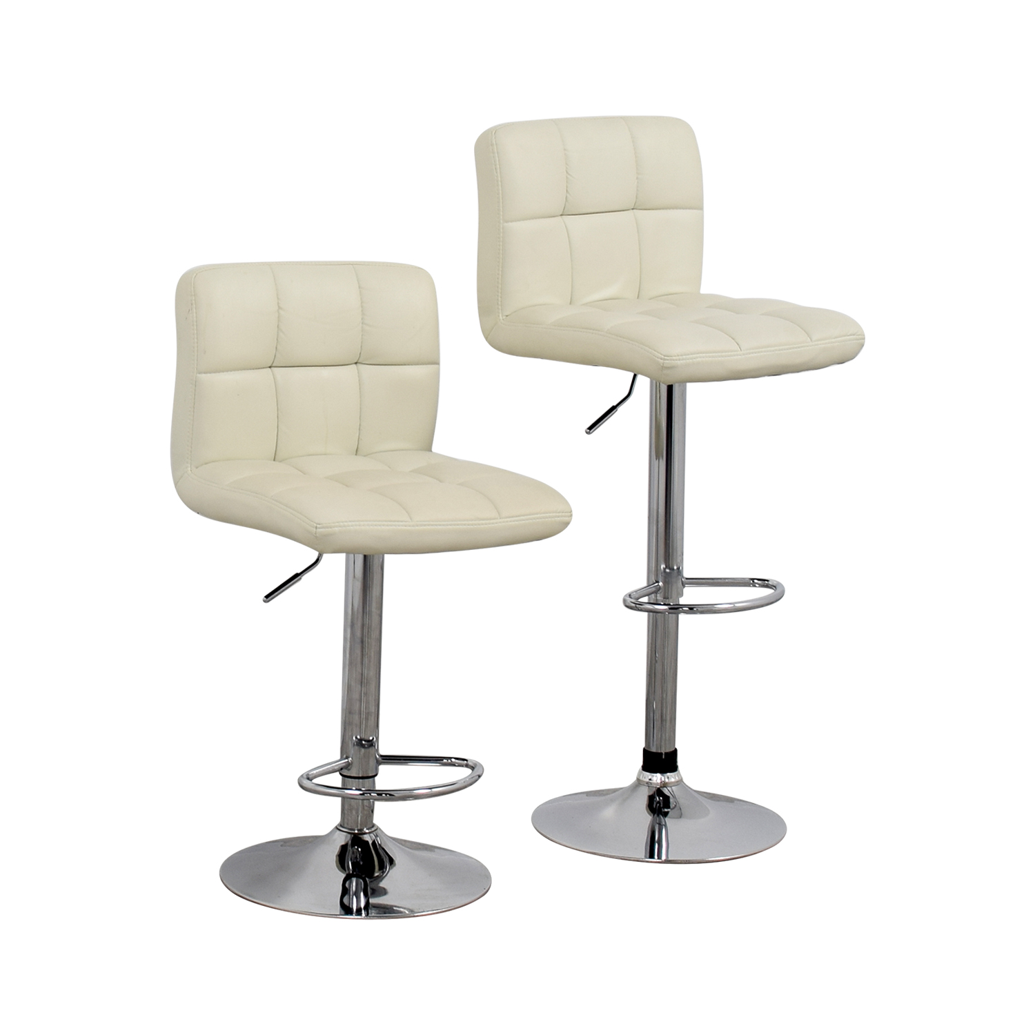 Creme and Chrome Tufted Bar Stools / Chairs