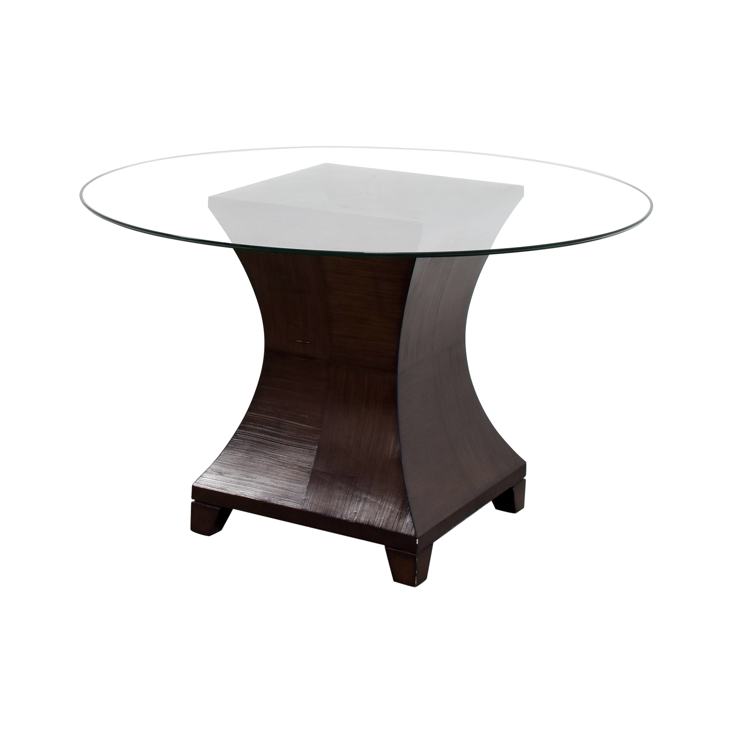 90 off round glass top dining table tables. Black Bedroom Furniture Sets. Home Design Ideas