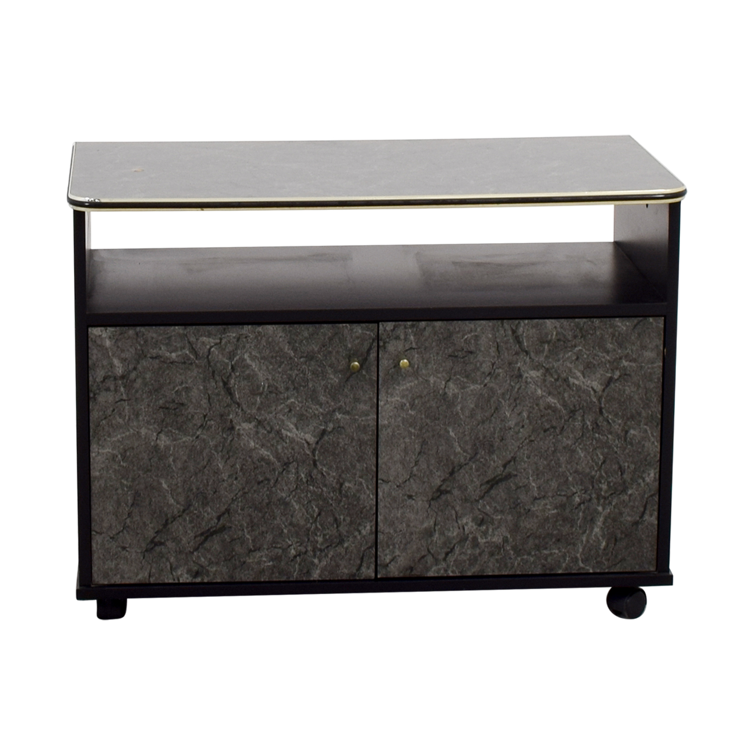Marbleized Brown Entertainment Center Storage
