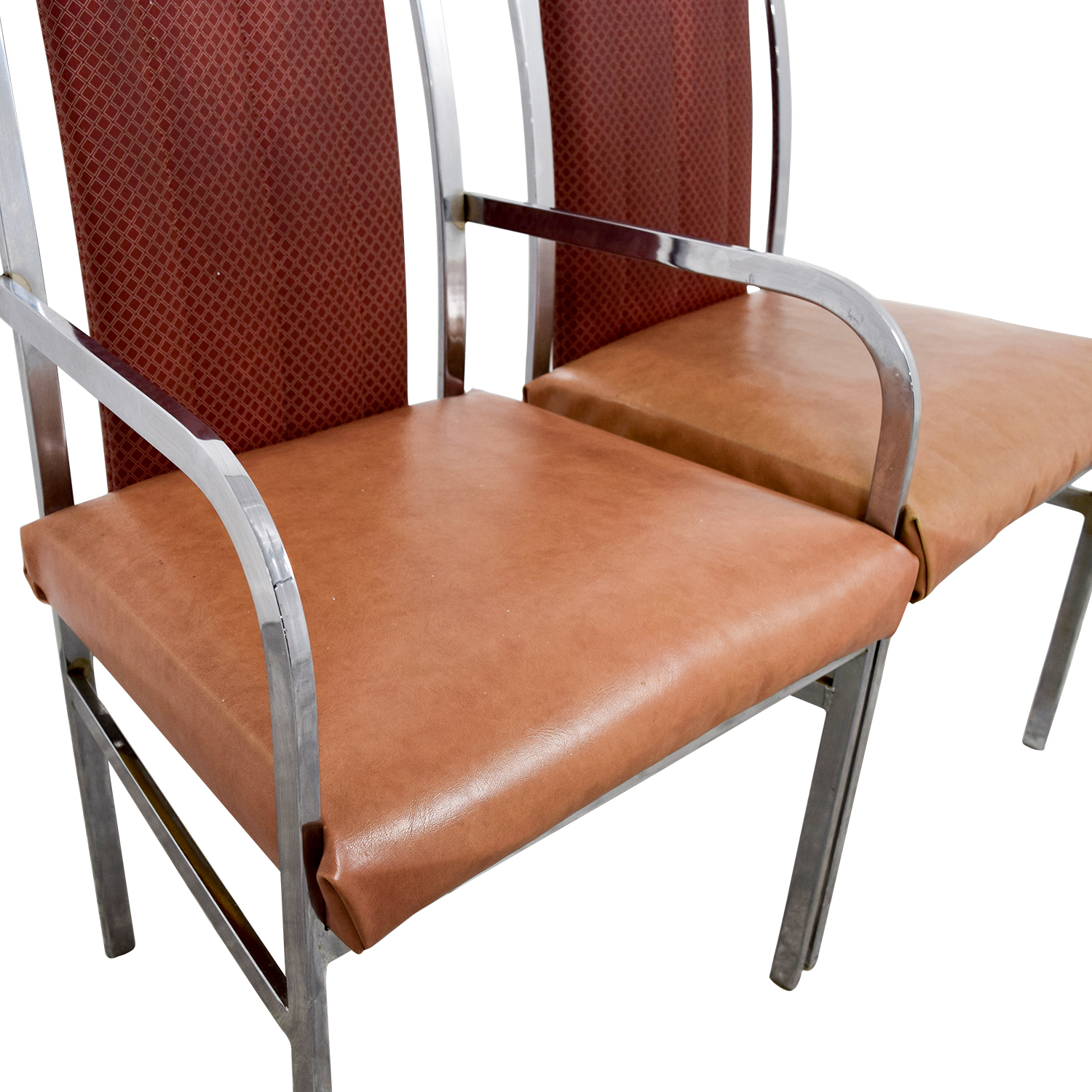buy Peach Leather and Chrome Dining Chairs Dining Chairs