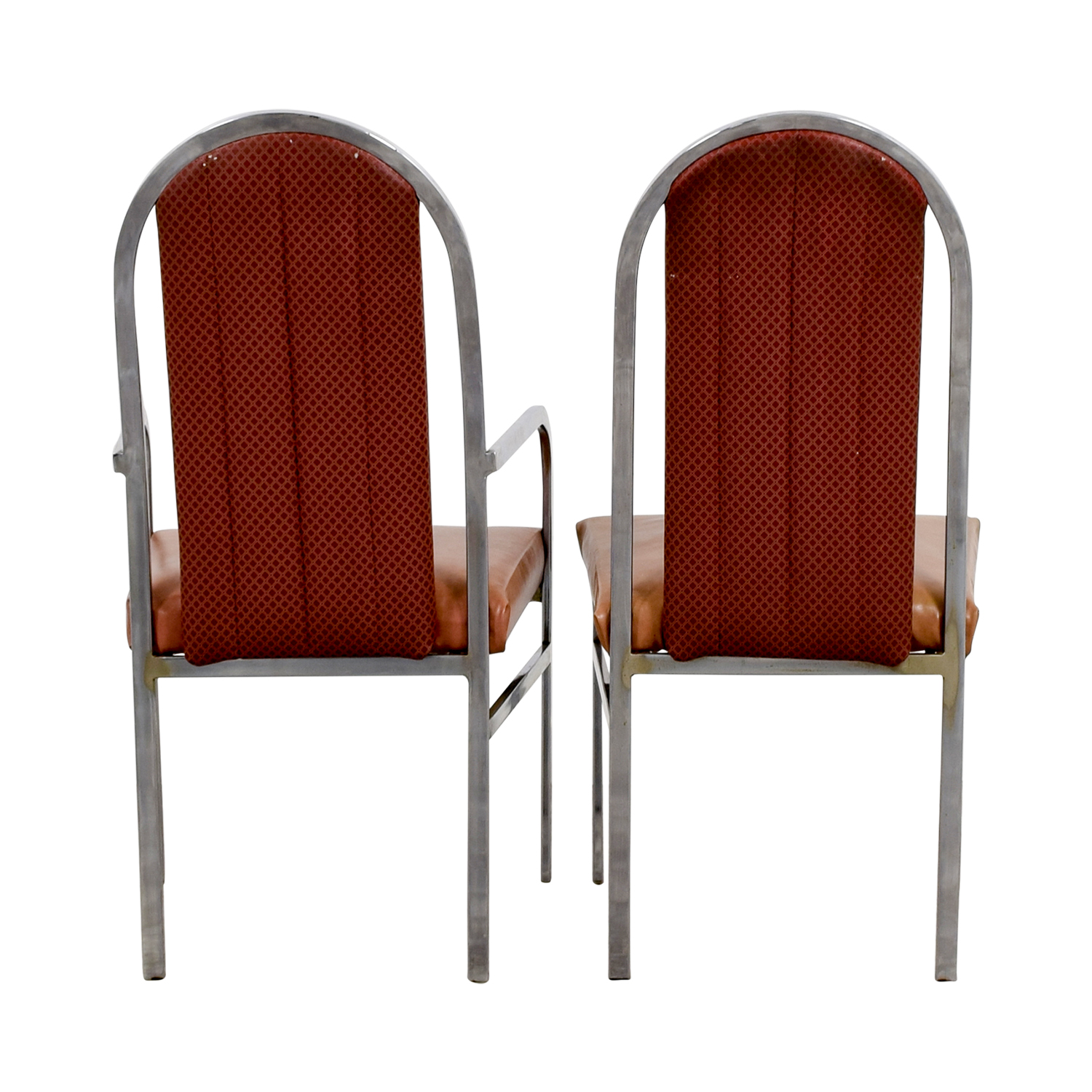 Peach Leather and Chrome Dining Chairs on sale