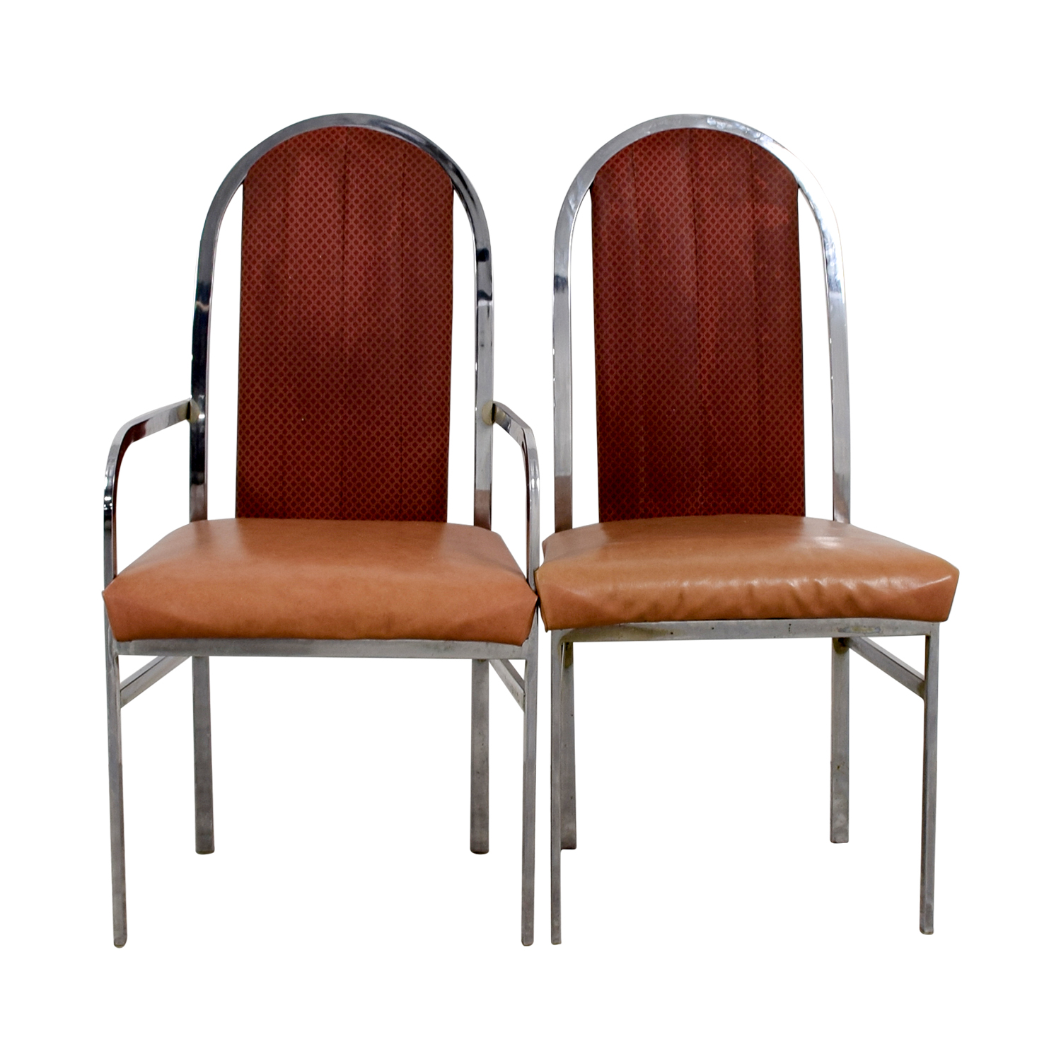 Peach Leather and Chrome Dining Chairs Chairs