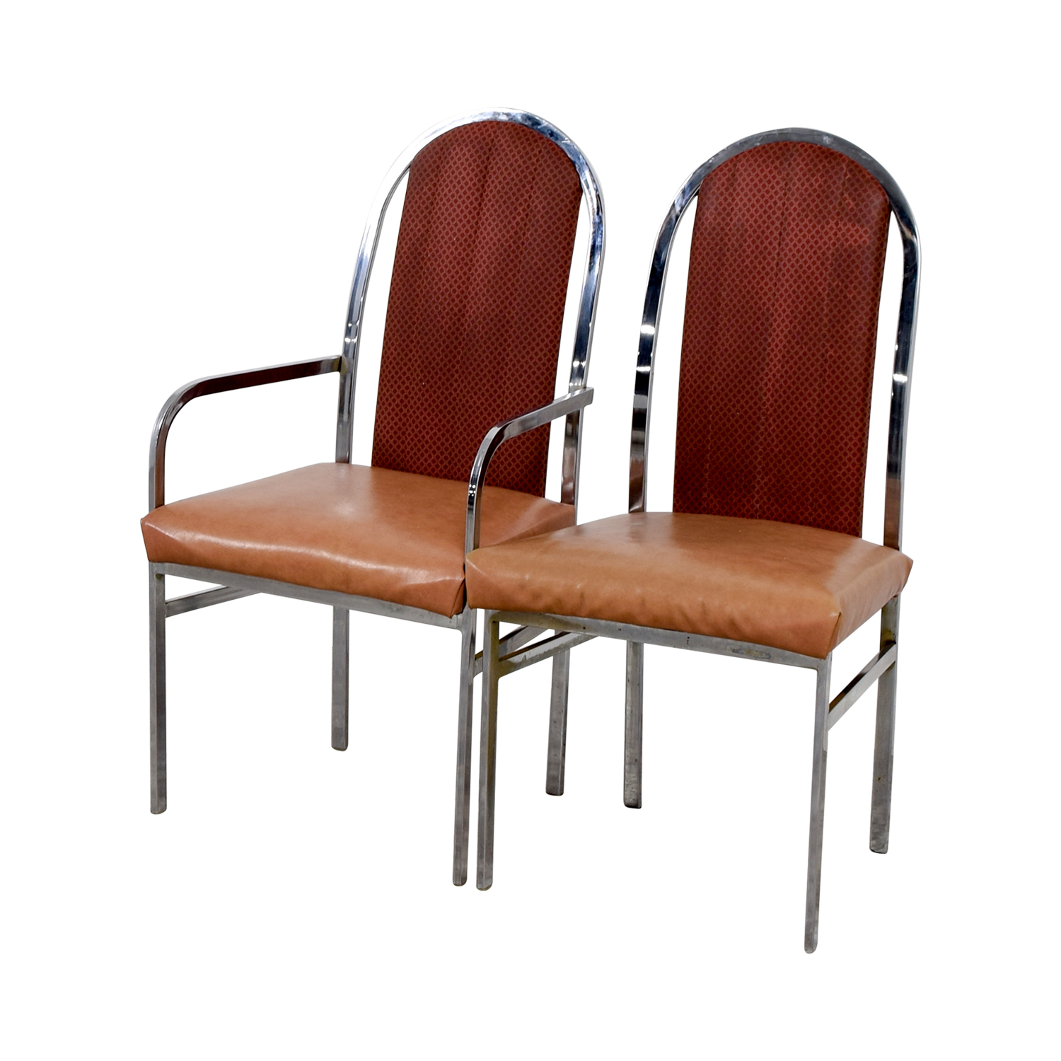 Peach Leather and Chrome Dining Chairs discount
