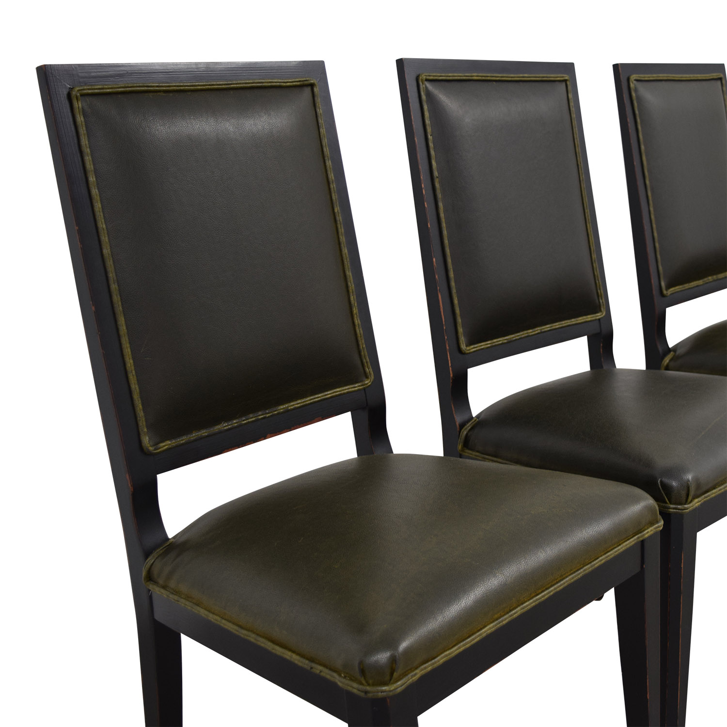 Crate & Barrel Crate & Barrel Sonata Dark Green Leather Chairs discount