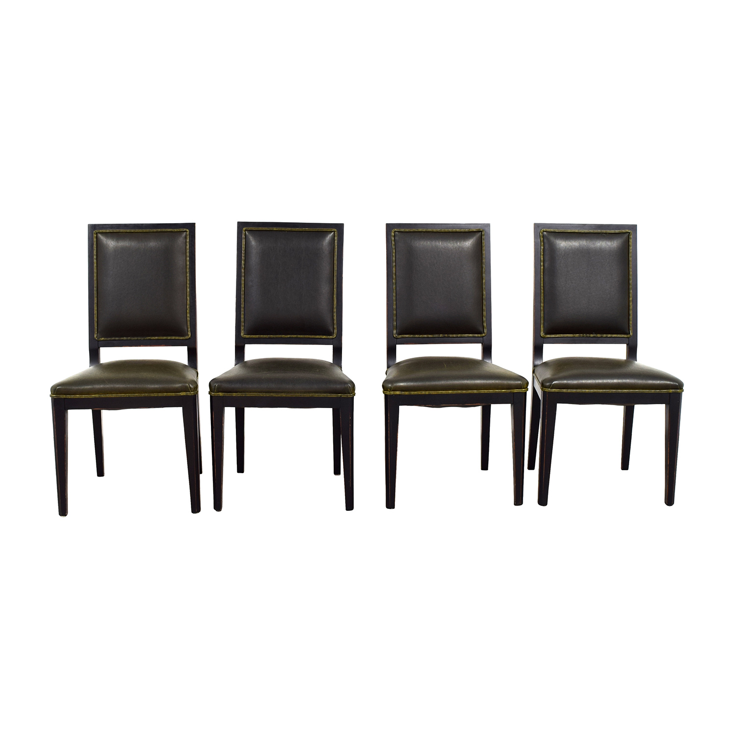 Crate U0026 Barrel Crate U0026 Barrel Sonata Dark Green Leather Chairs ...